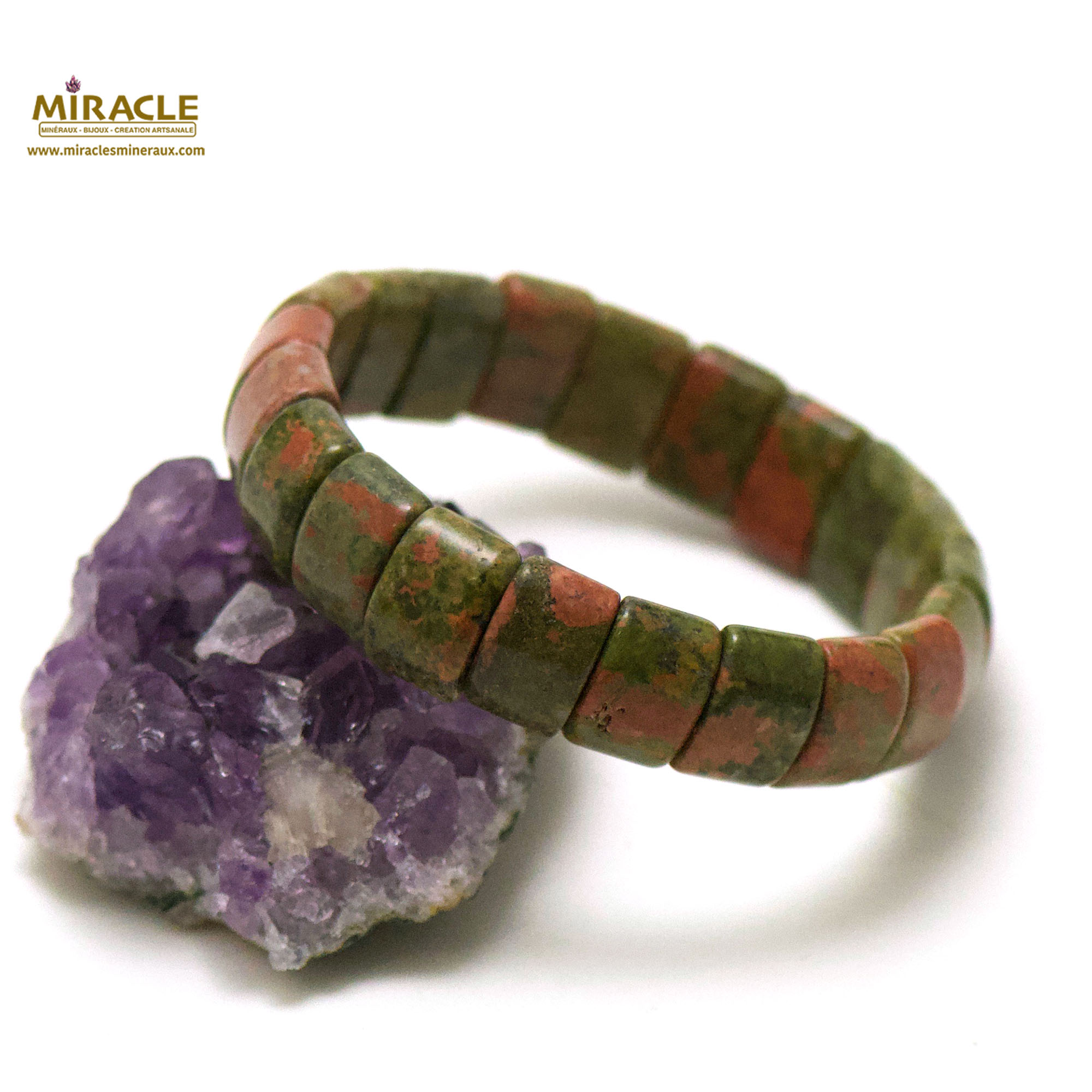 bracelet unakite plaquette rectangle bombé