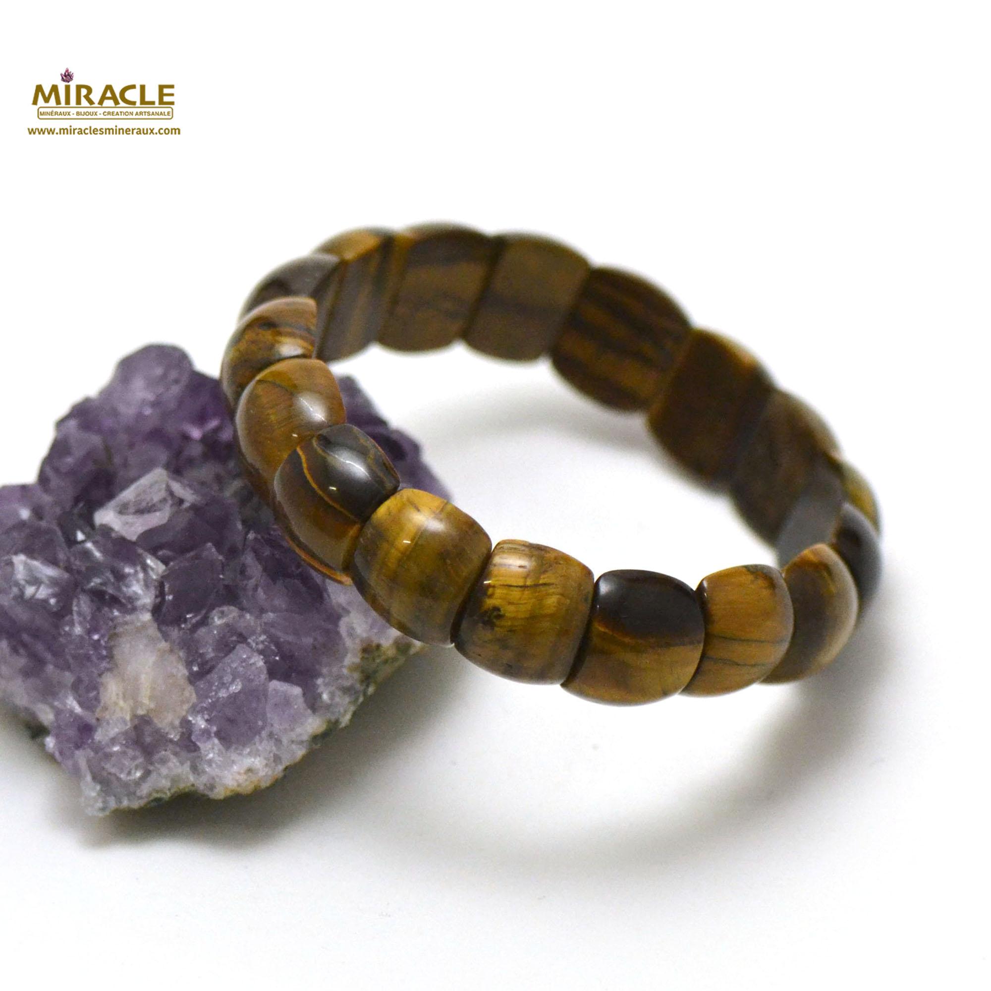 bracelet de l\'oeil de tigre plaquette demi-rond
