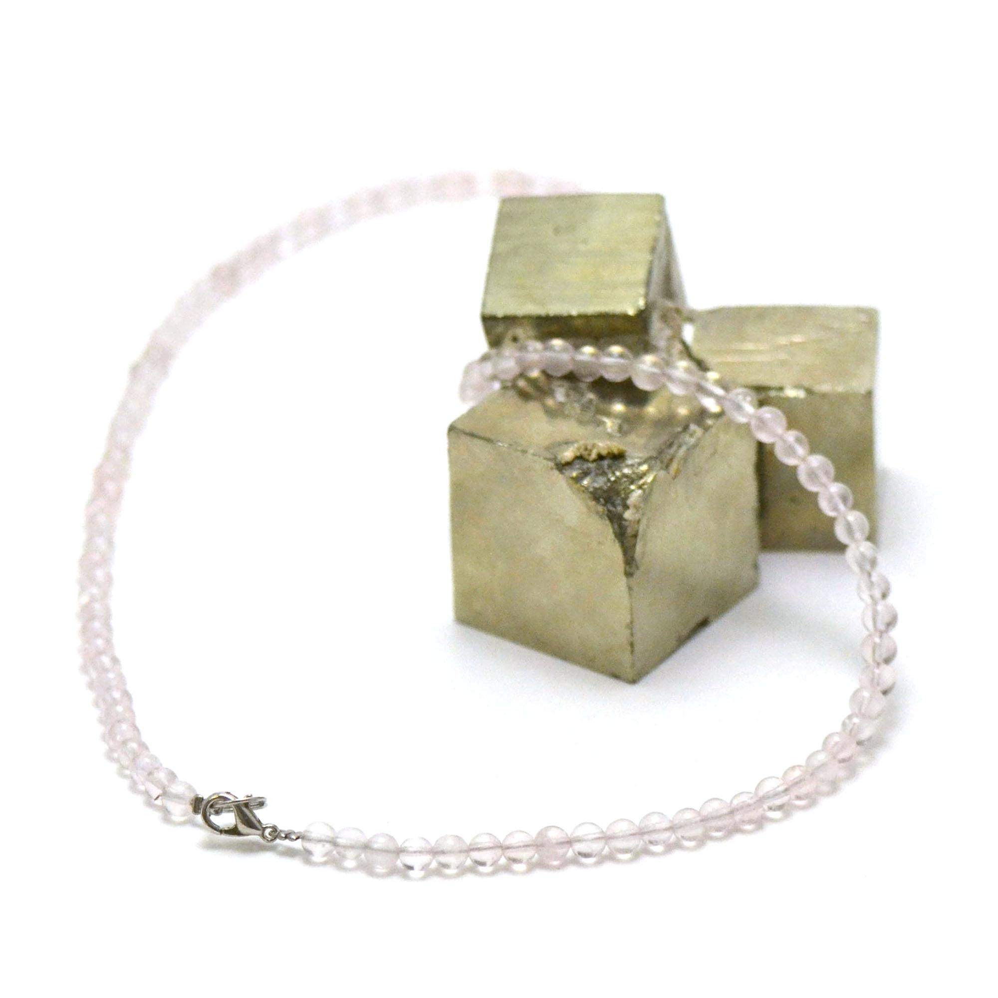 collier quartz rose perle ronde 4 mm