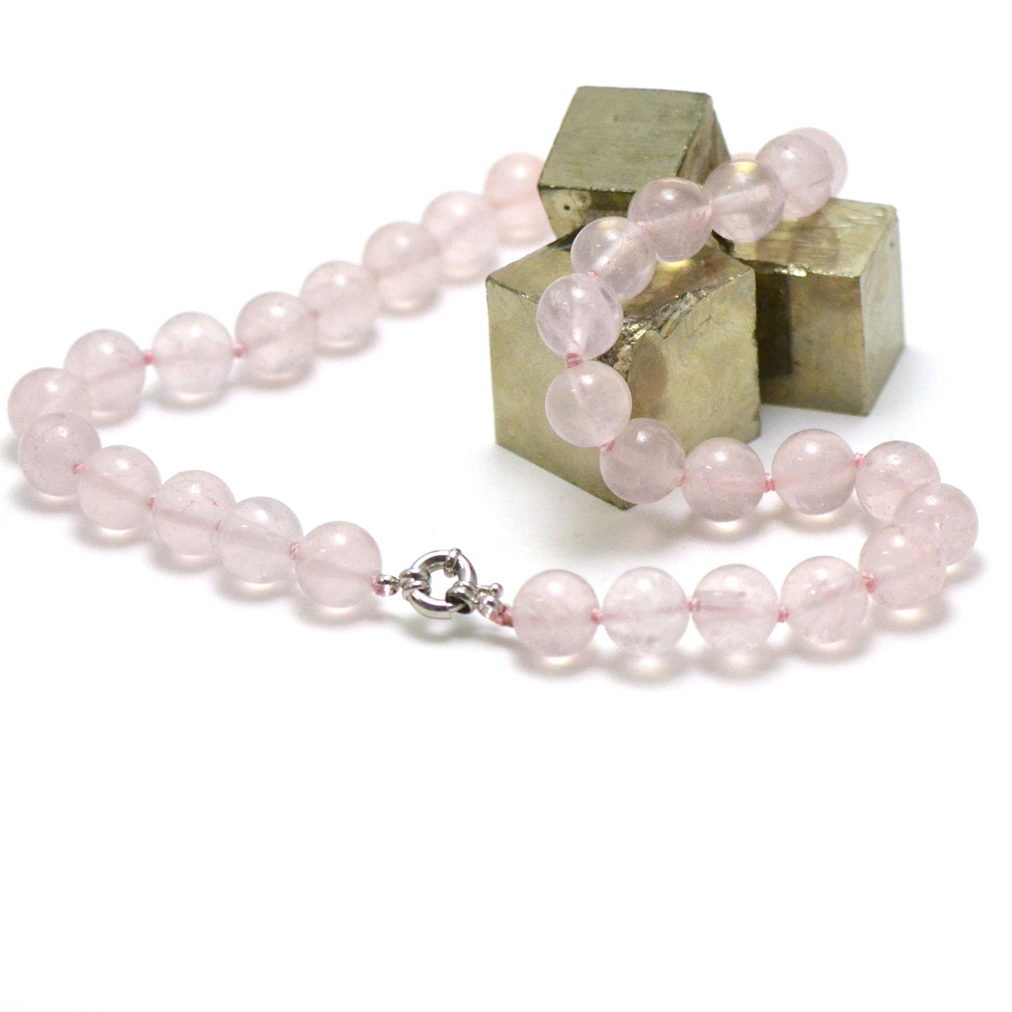 collier quartz rose perle ronde 12 mm