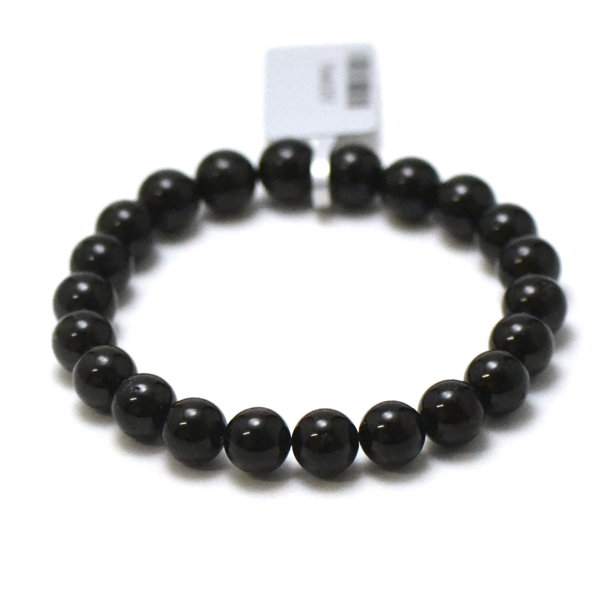 bracelet tourmaline noir, perle ronde 8 mm