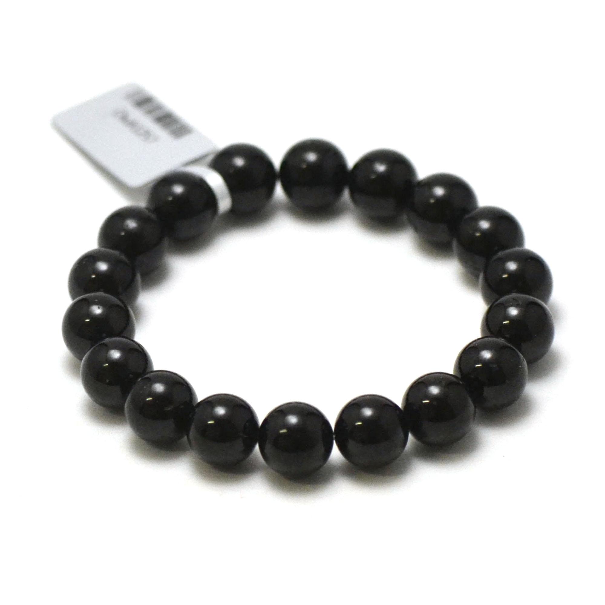 bracelet tourmaline noir, perle ronde 10 mm
