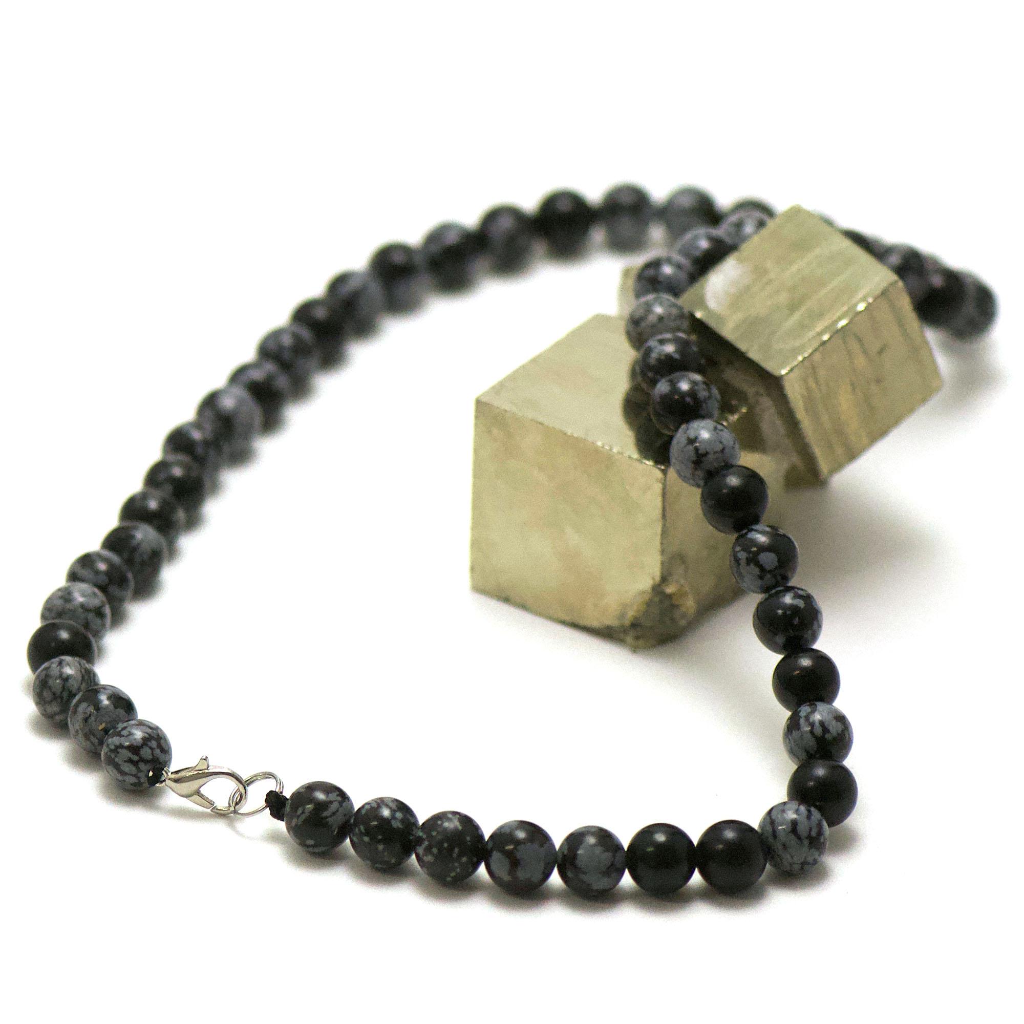 collier en obsidienne neige, perle ronde 8 mm