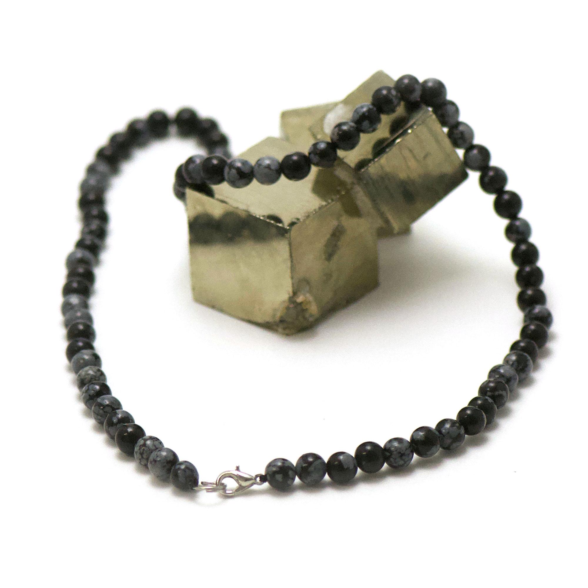 collier en obsidienne neige, perle ronde 6 mm