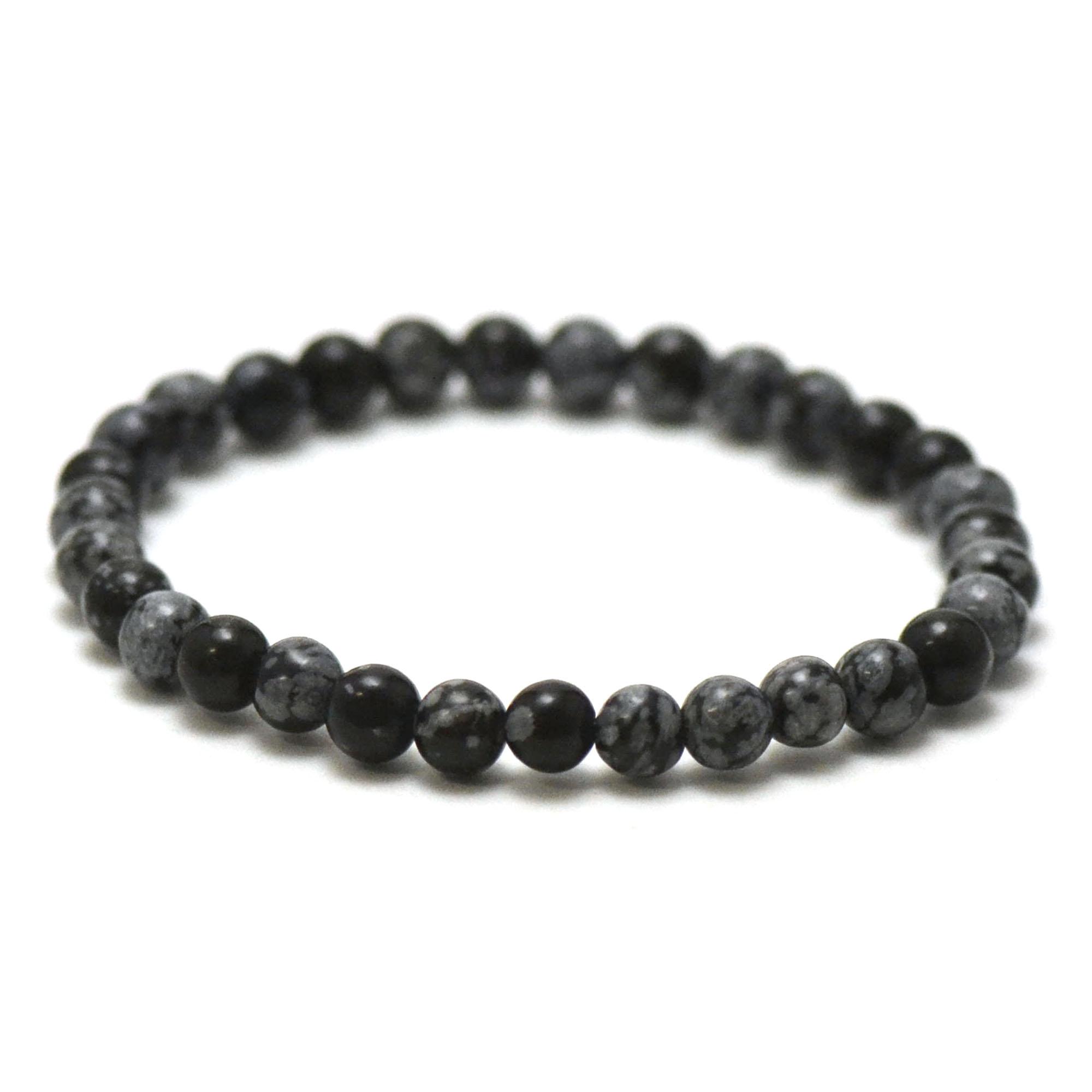 bracelet obsidienne neige, perle ronde 6 mm