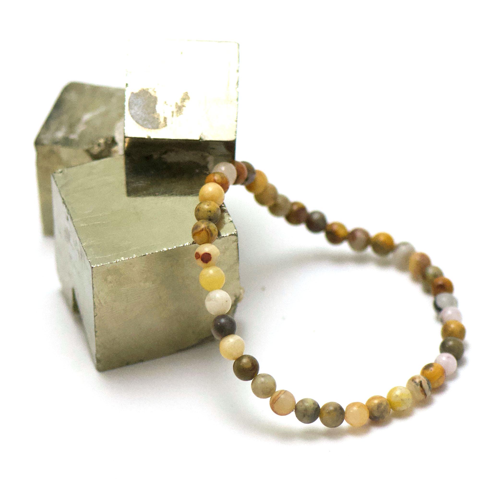 bracelet agate crazy lace, perle ronde 4 mm
