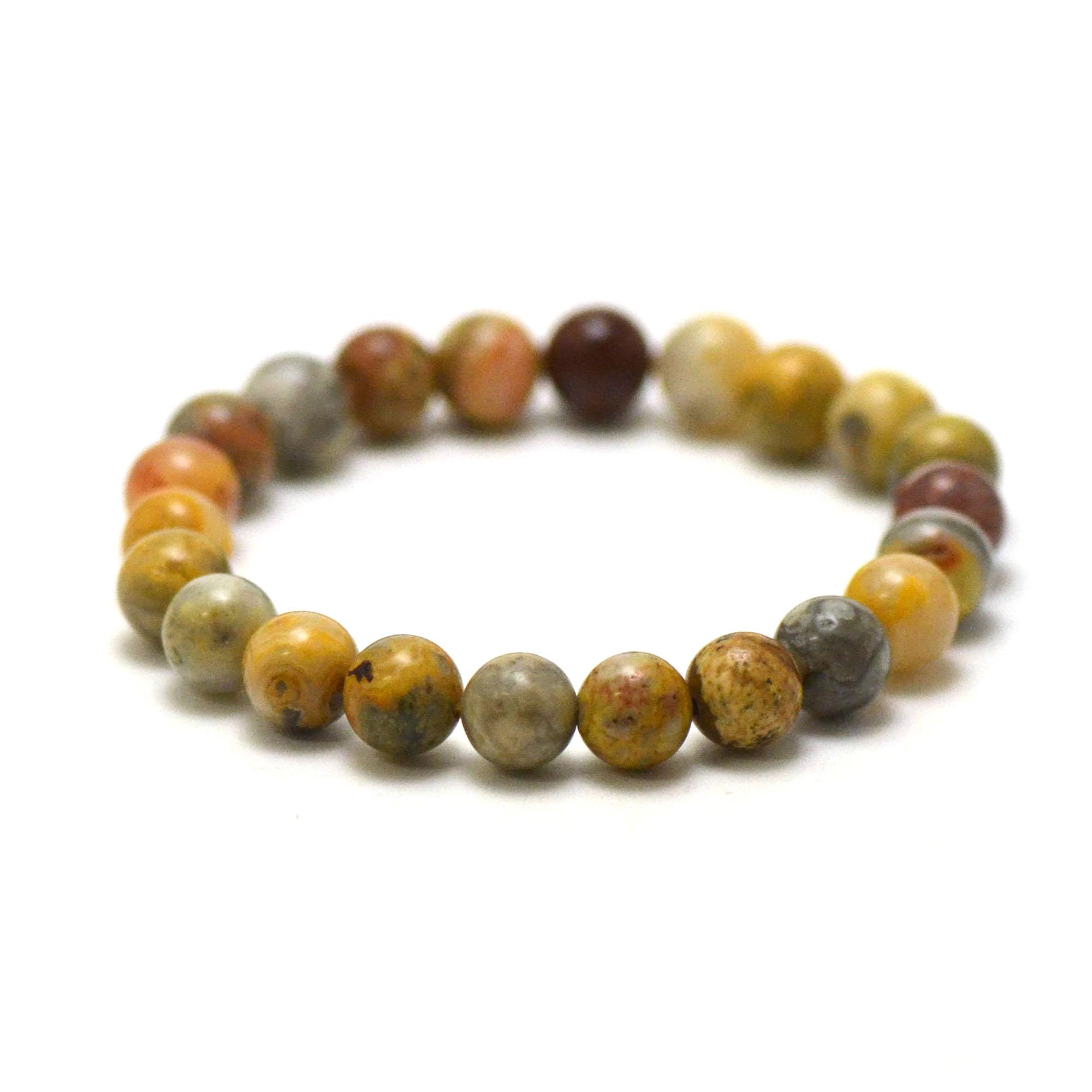 bracelet agate crazy lace, perle ronde 8 mm