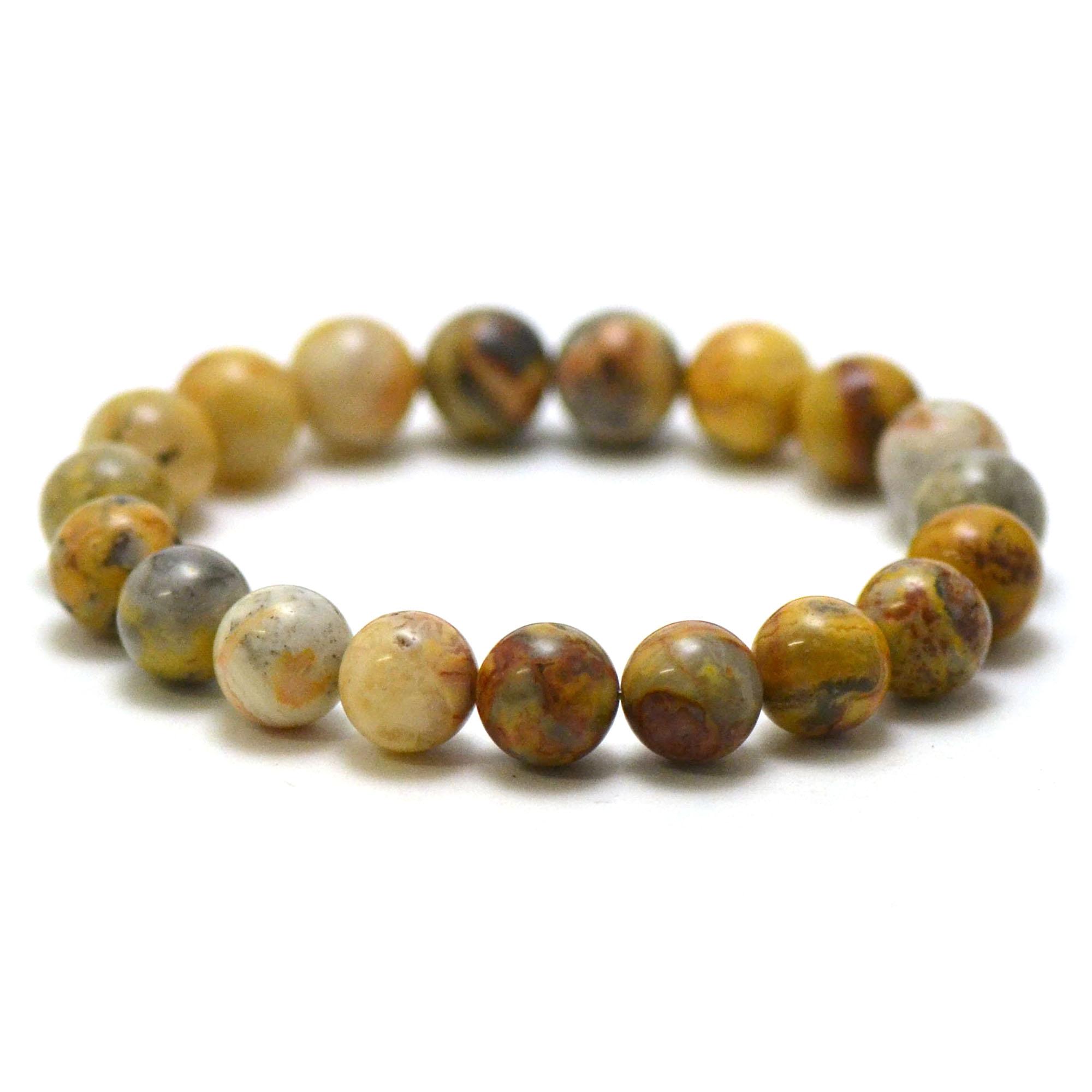 bracelet agate crazy lace, perle ronde 10 mm