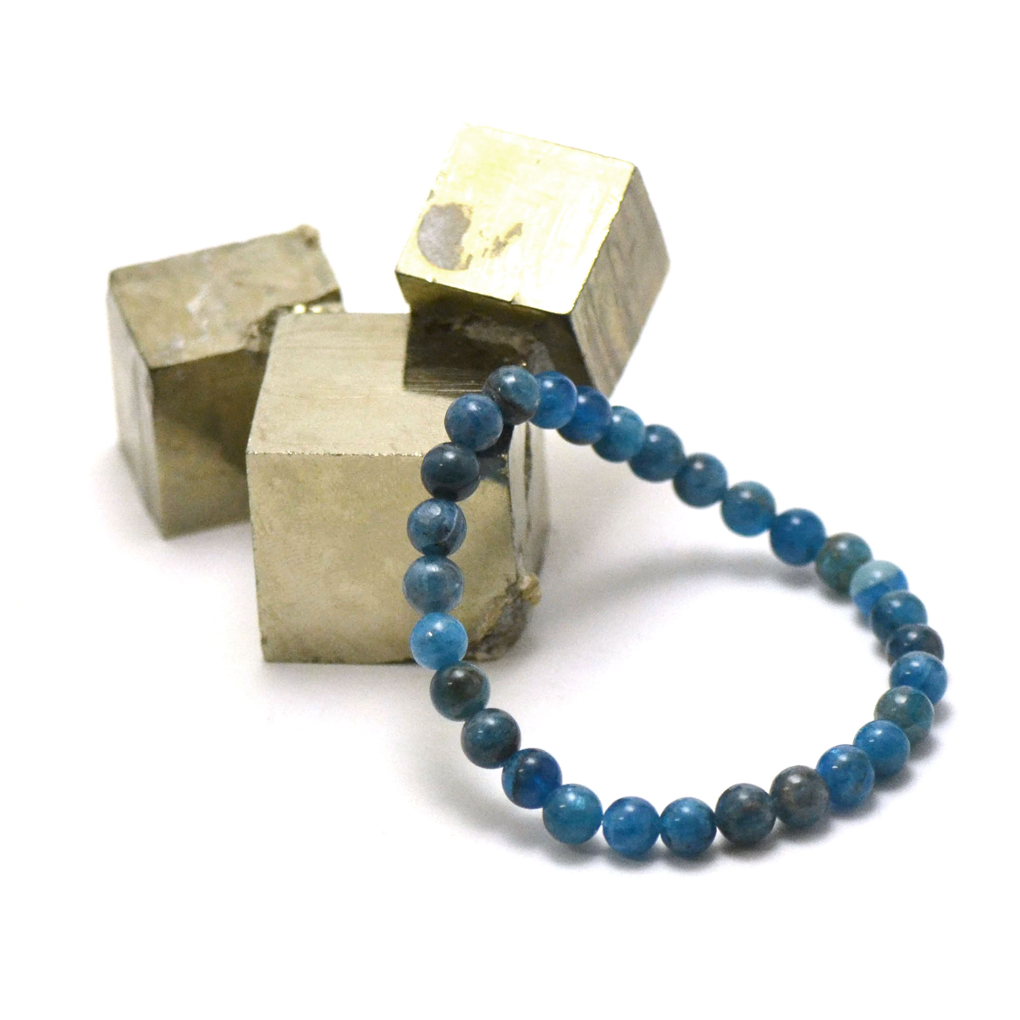 bracelet apatite, perle ronde 6 mm