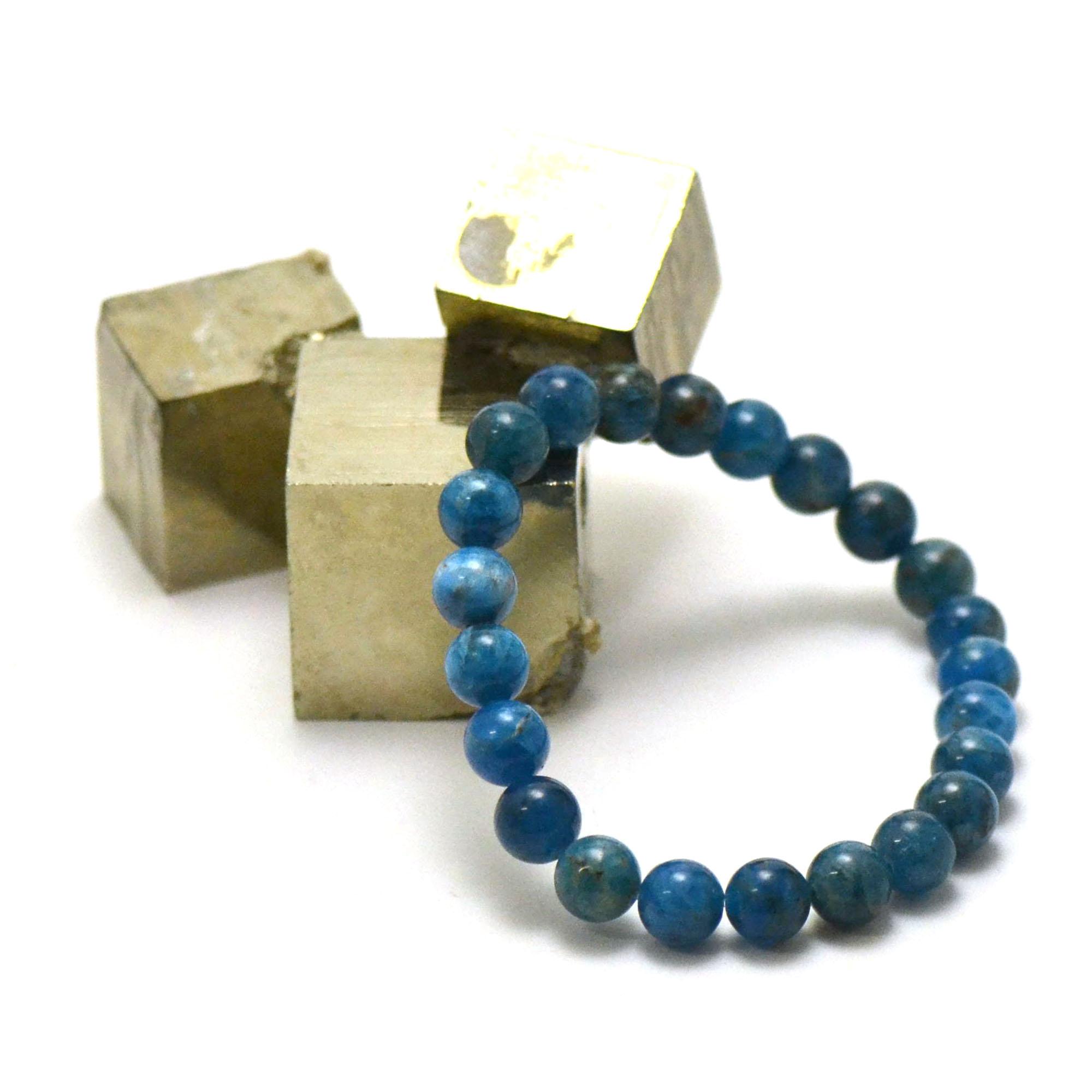 bracelet apatite, perle ronde 8 mm