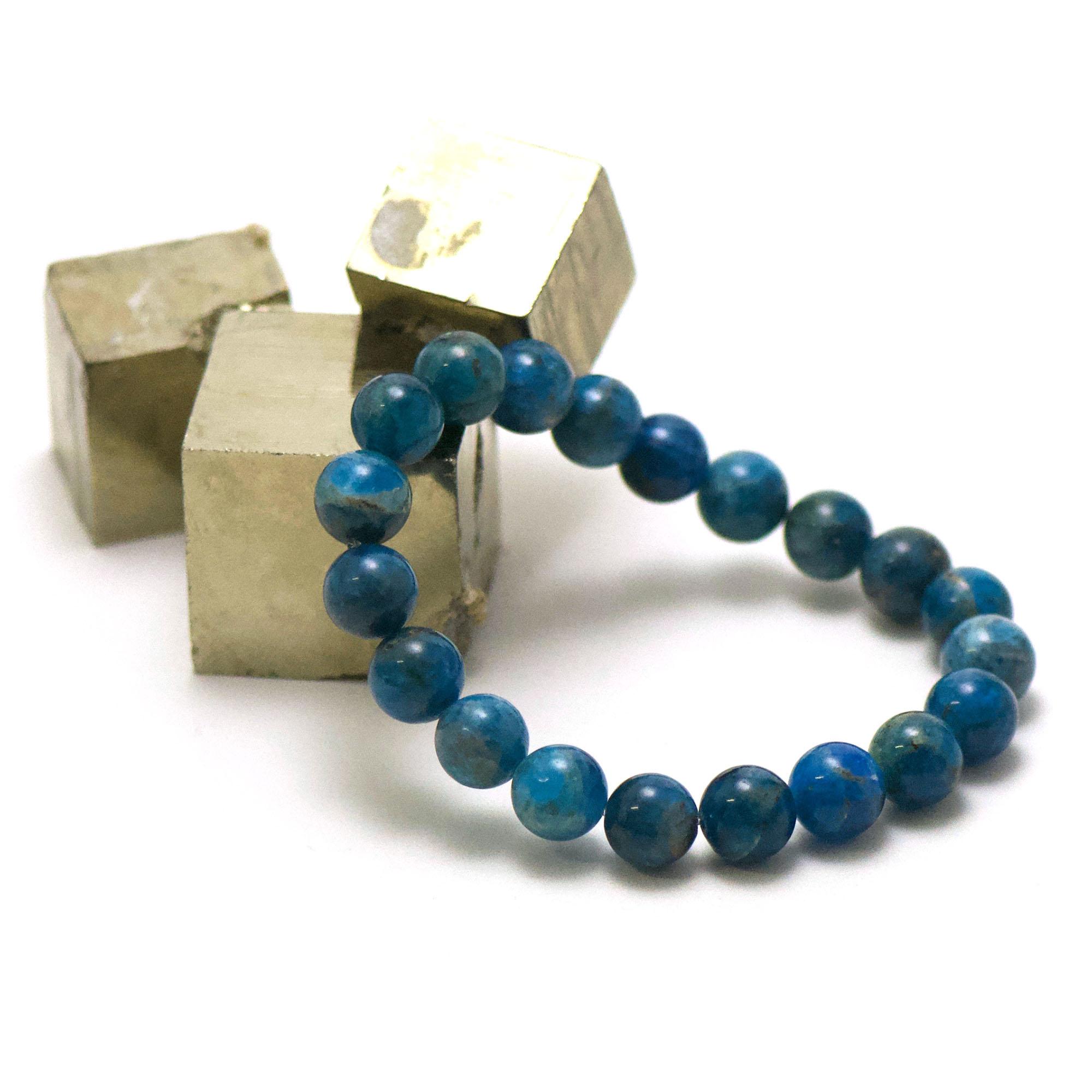 bracelet apatite, perle ronde 10 mm