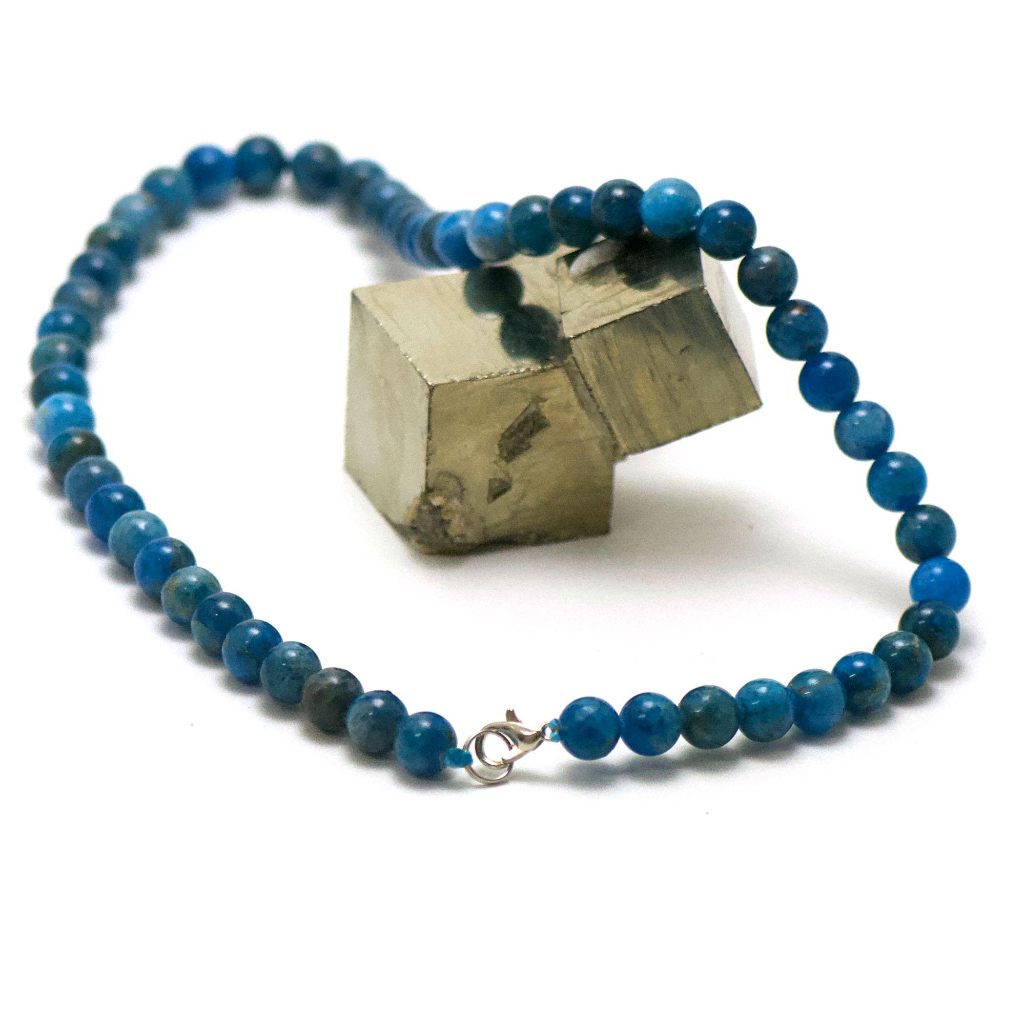 collier en apatite, perle ronde 8 mm