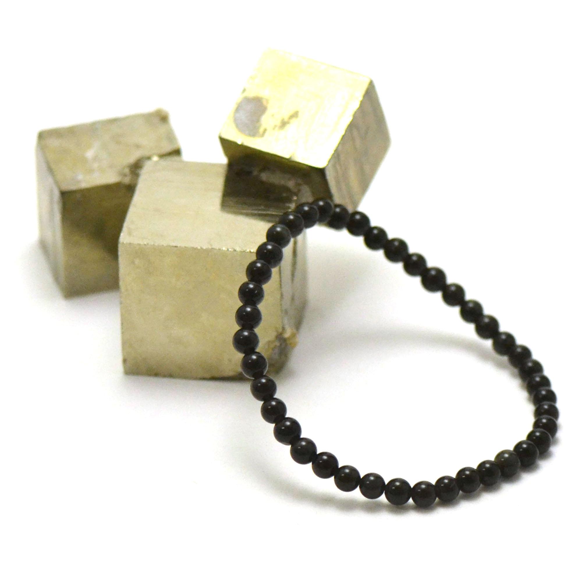 bracelet obsidienne noir, perle ronde 4 mm