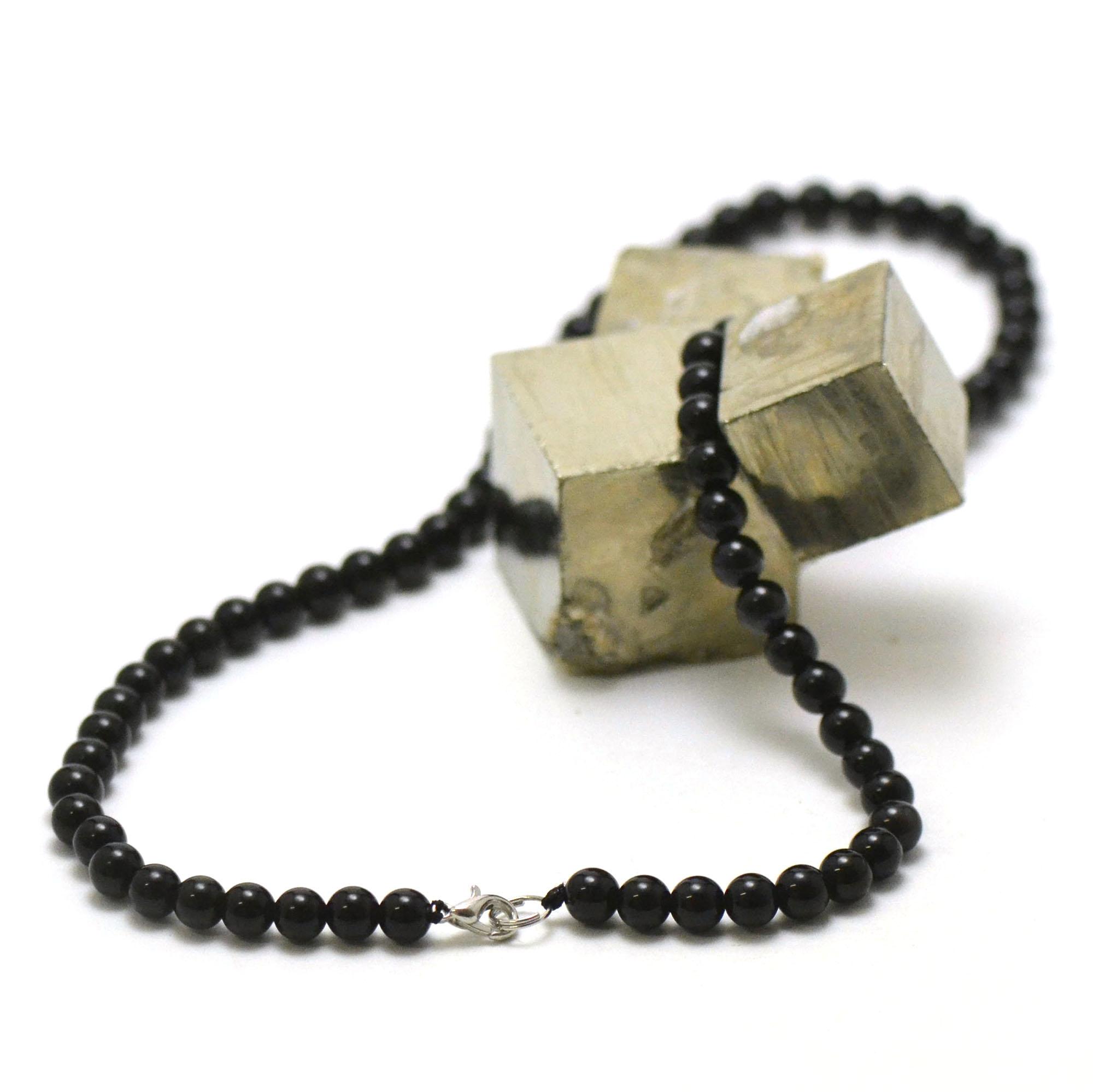 collier en obsidienne noir, perle ronde 6 mm