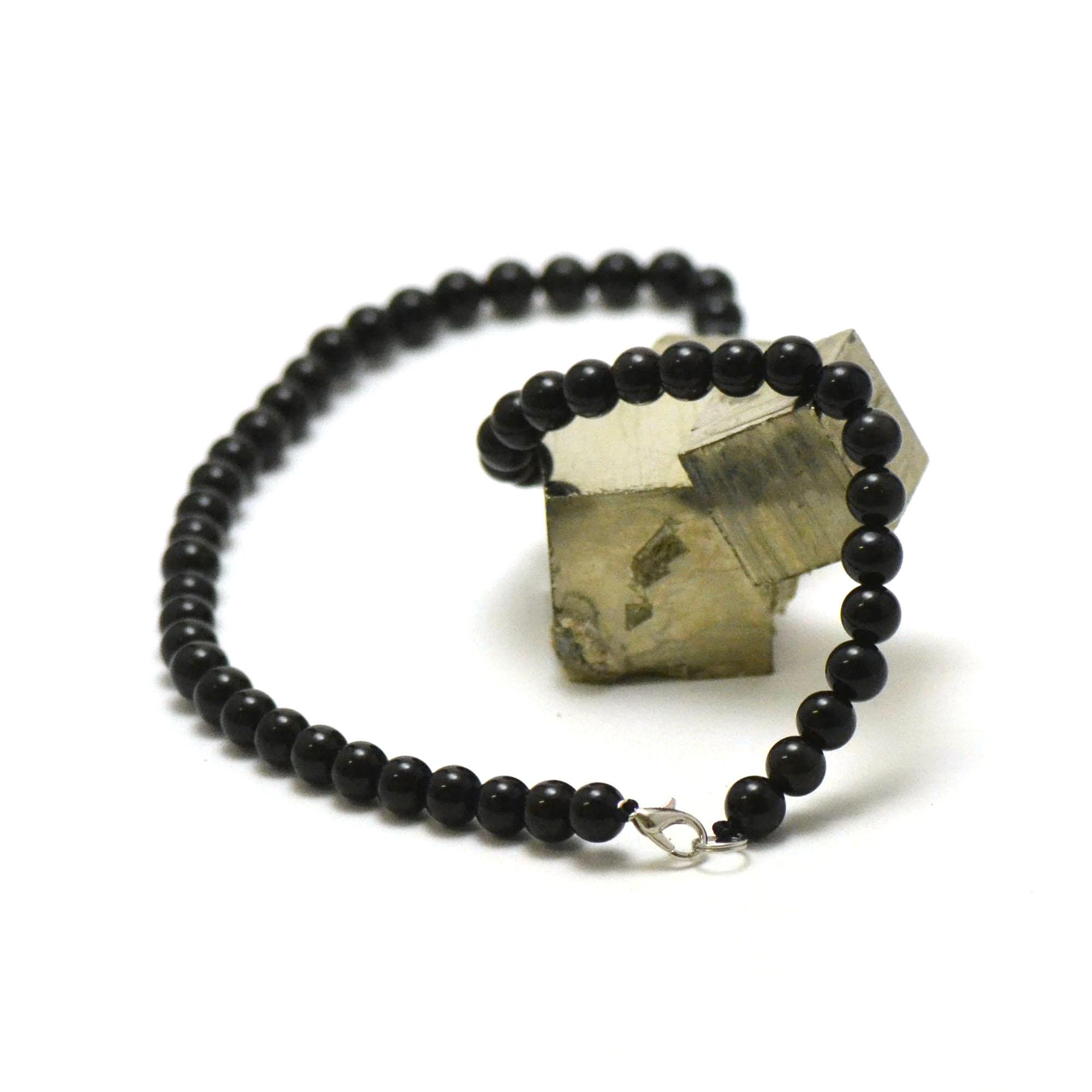 collier en obsidienne noir, perle ronde 8 mm
