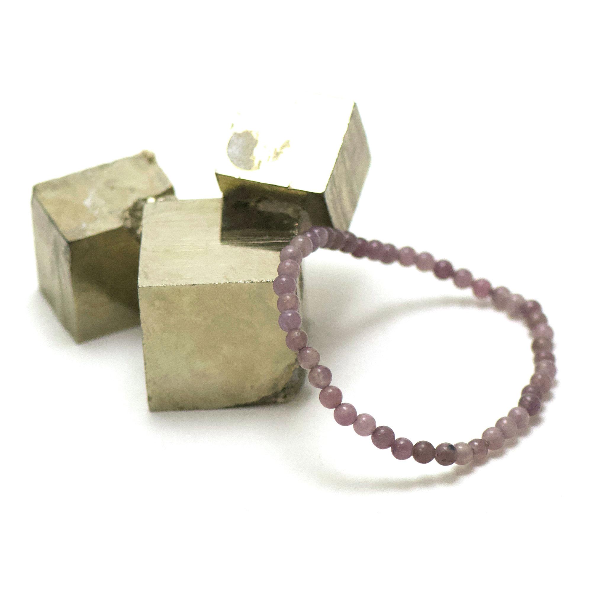 bracelet lépidolite, perle ronde 4 mm