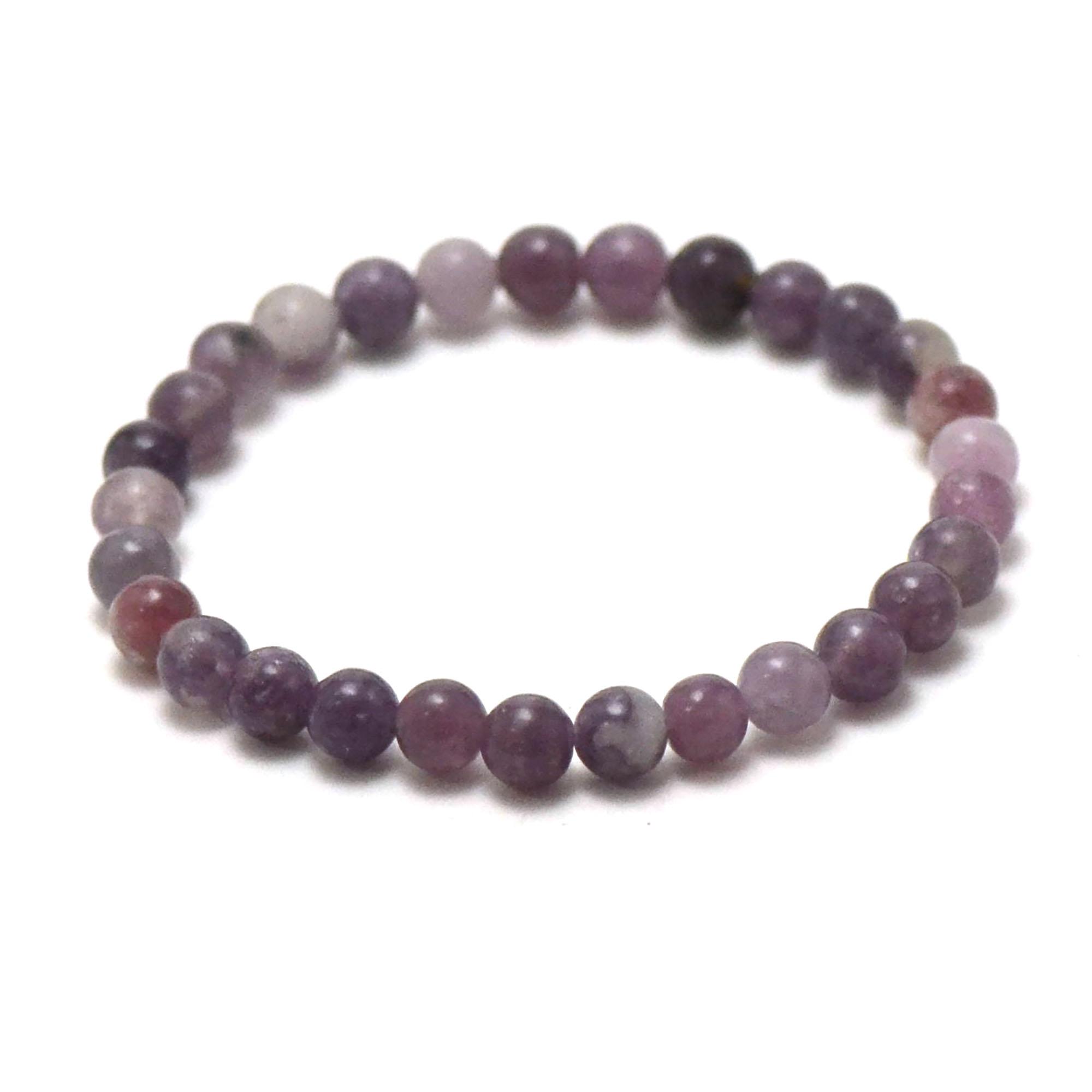 bracelet lépidolite, perle ronde 6 mm