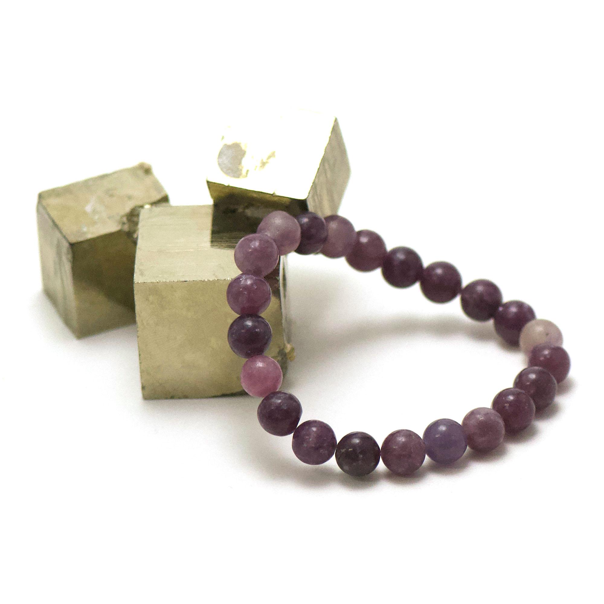 bracelet lépidolite, perle ronde 8 mm