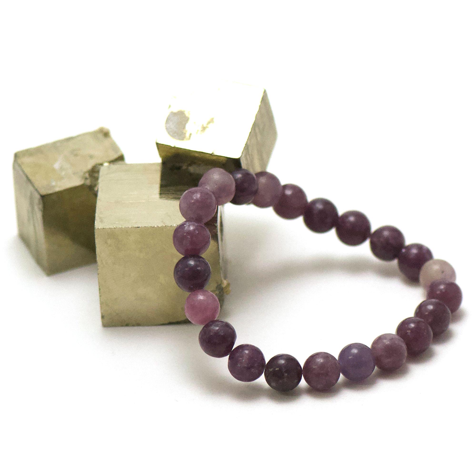 bracelet lépidolite, perle ronde 10 mm