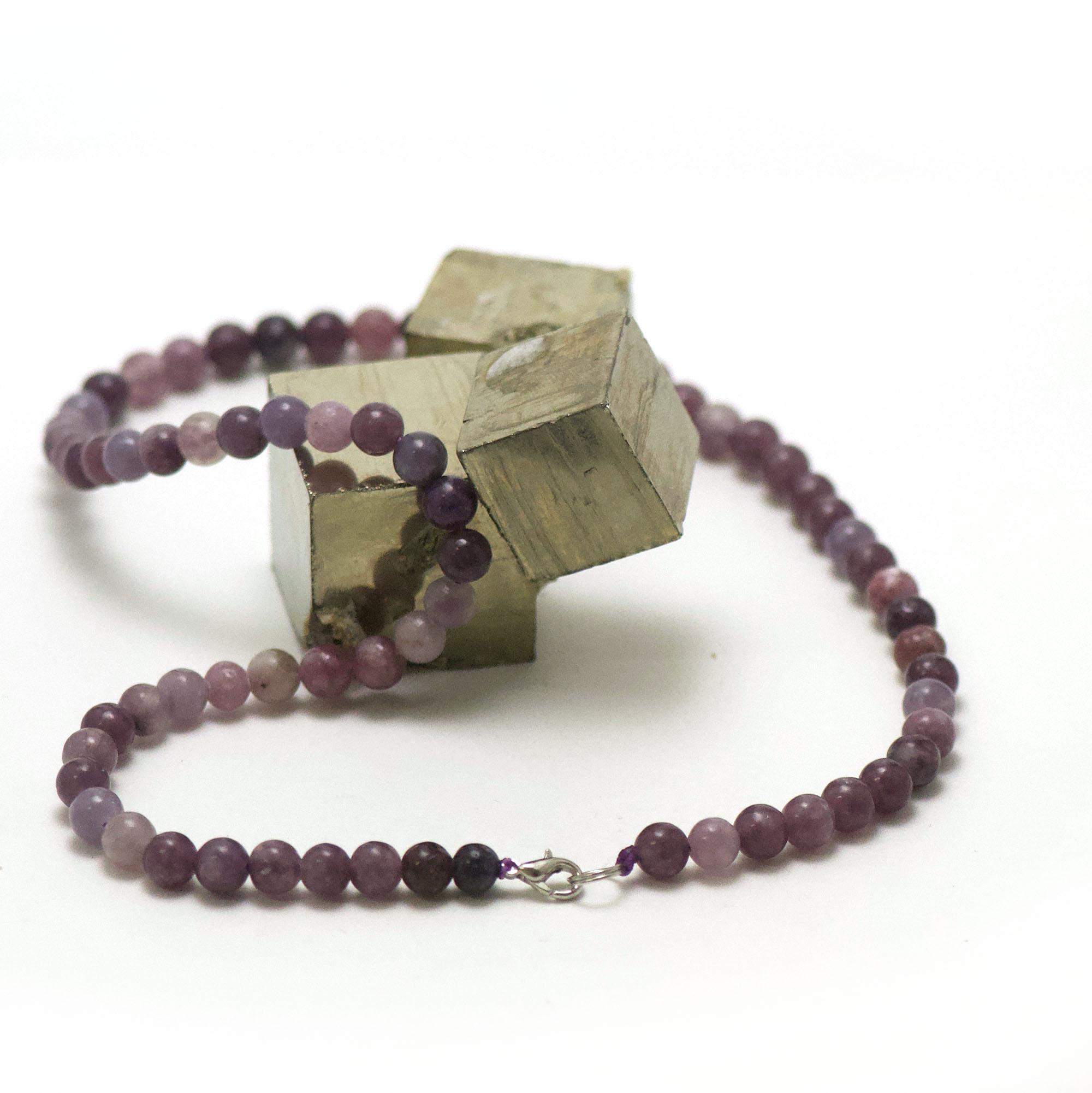 collier en lépidolite, perle ronde 6 mm