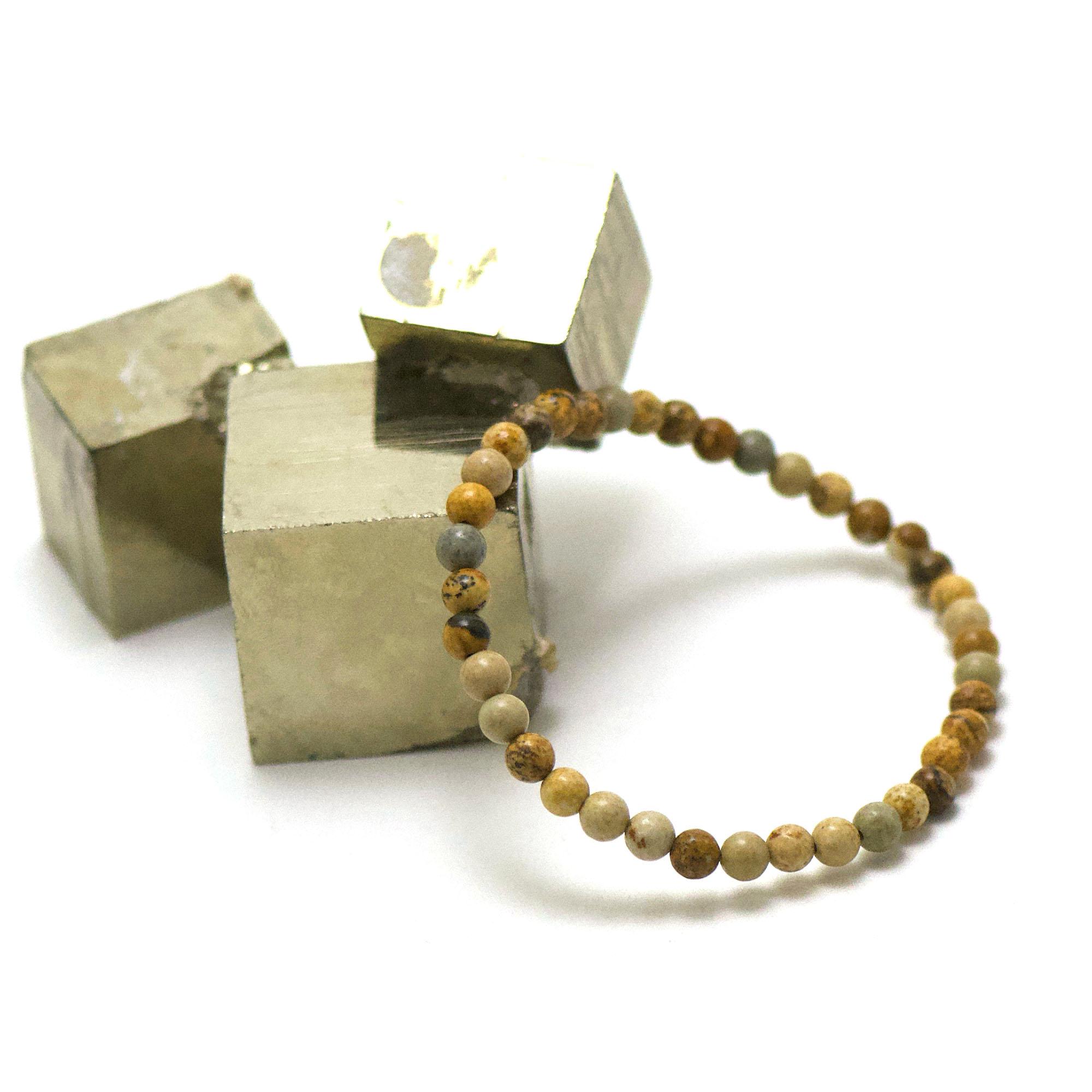 bracelet jaspe paysage, perle ronde 4 mm