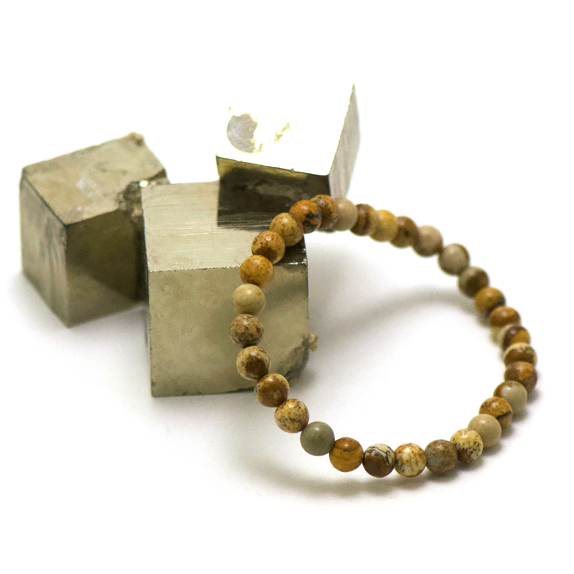 bracelet jaspe paysage, perle ronde 6 mm