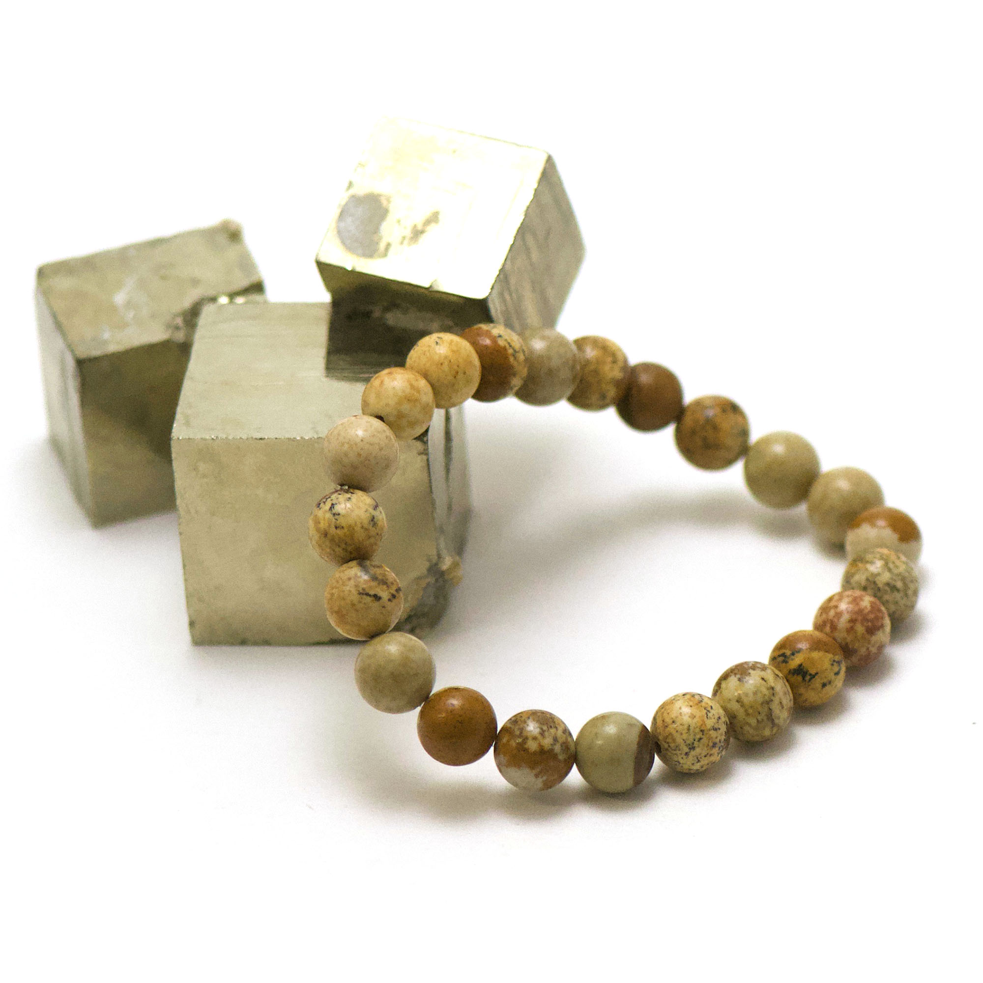bracelet jaspe paysage, perle ronde 8 mm