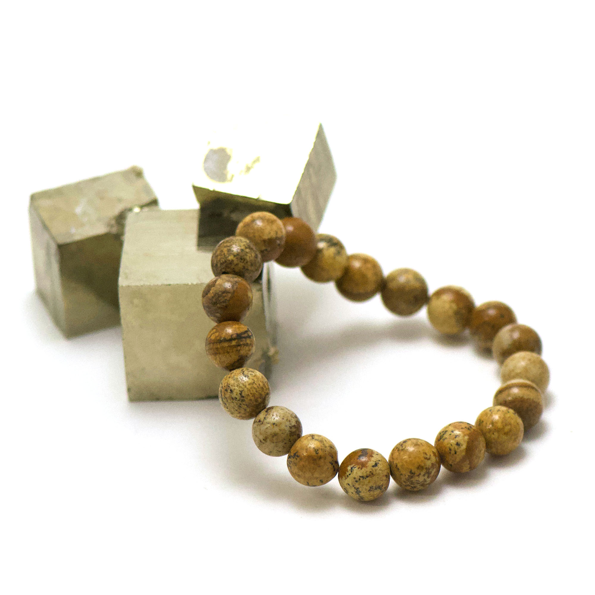 bracelet jaspe paysage, perle ronde 10 mm
