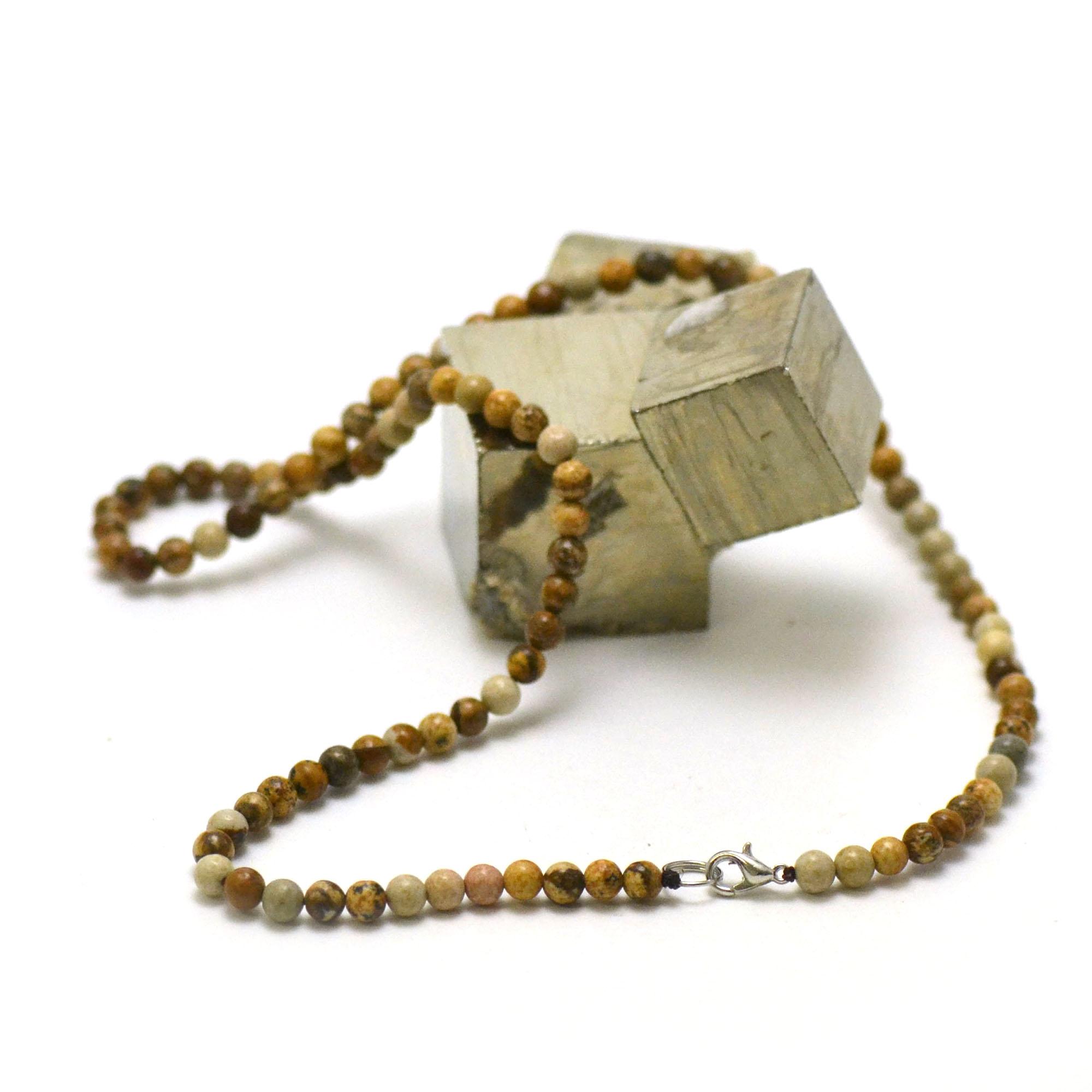 collier en jaspe paysage, perle ronde 4 mm