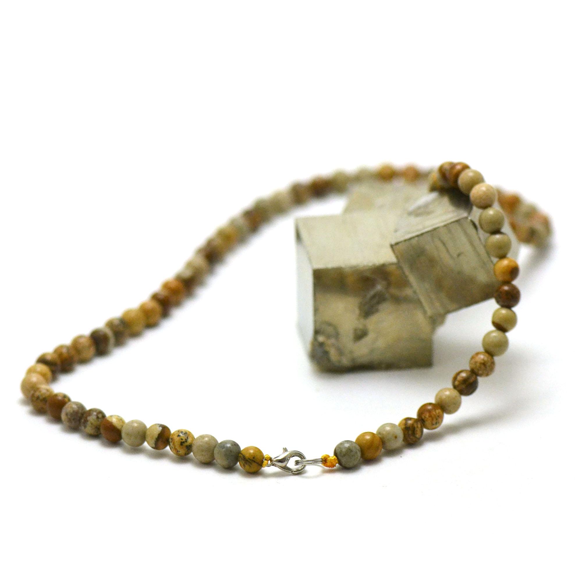 collier en jaspe paysage, perle ronde 6 mm