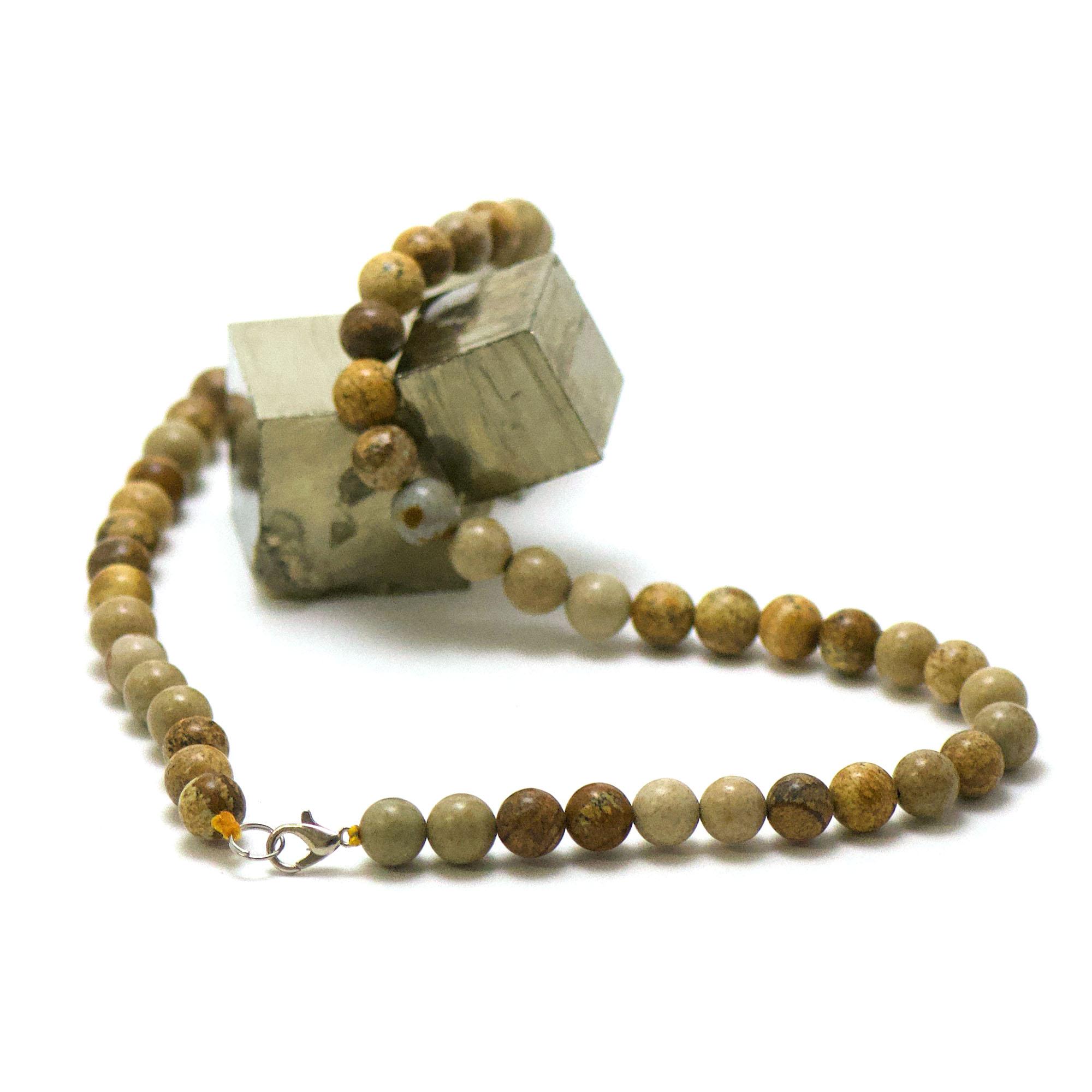 collier en jaspe paysage, perle ronde 8 mm