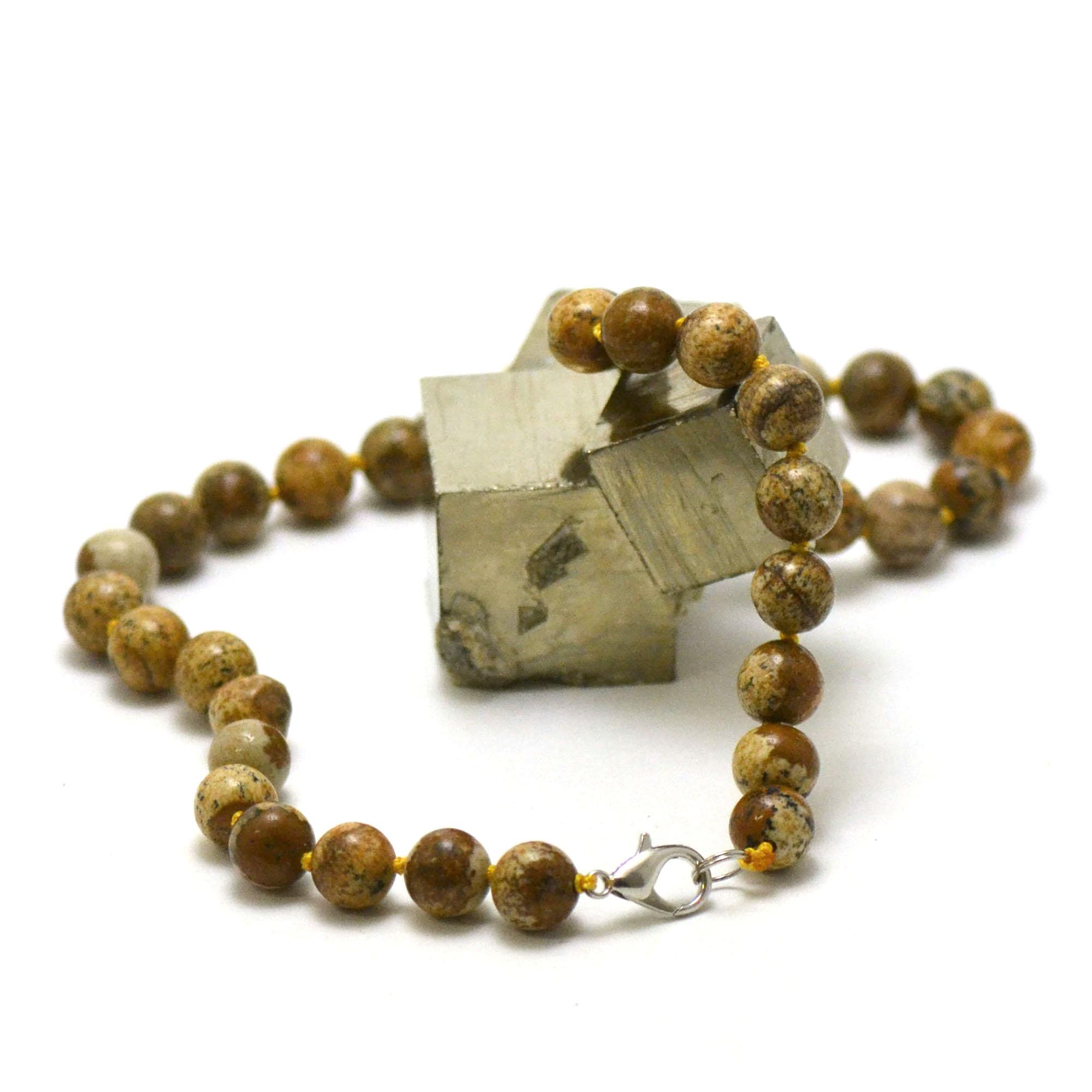 collier en jaspe paysage, perle ronde 10 mm