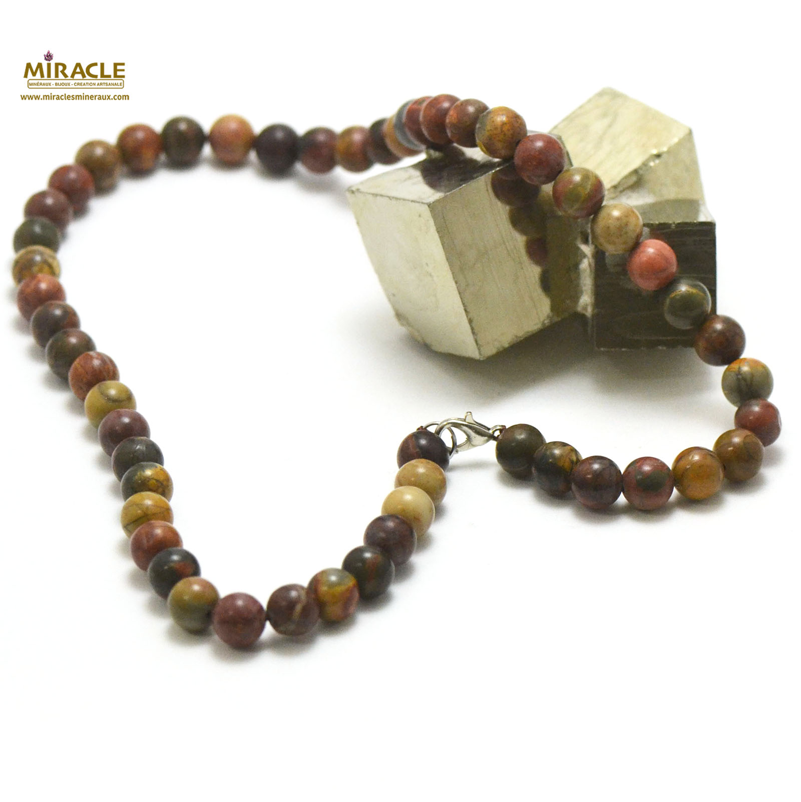 collier en jaspe picasso, perle ronde 8 mm