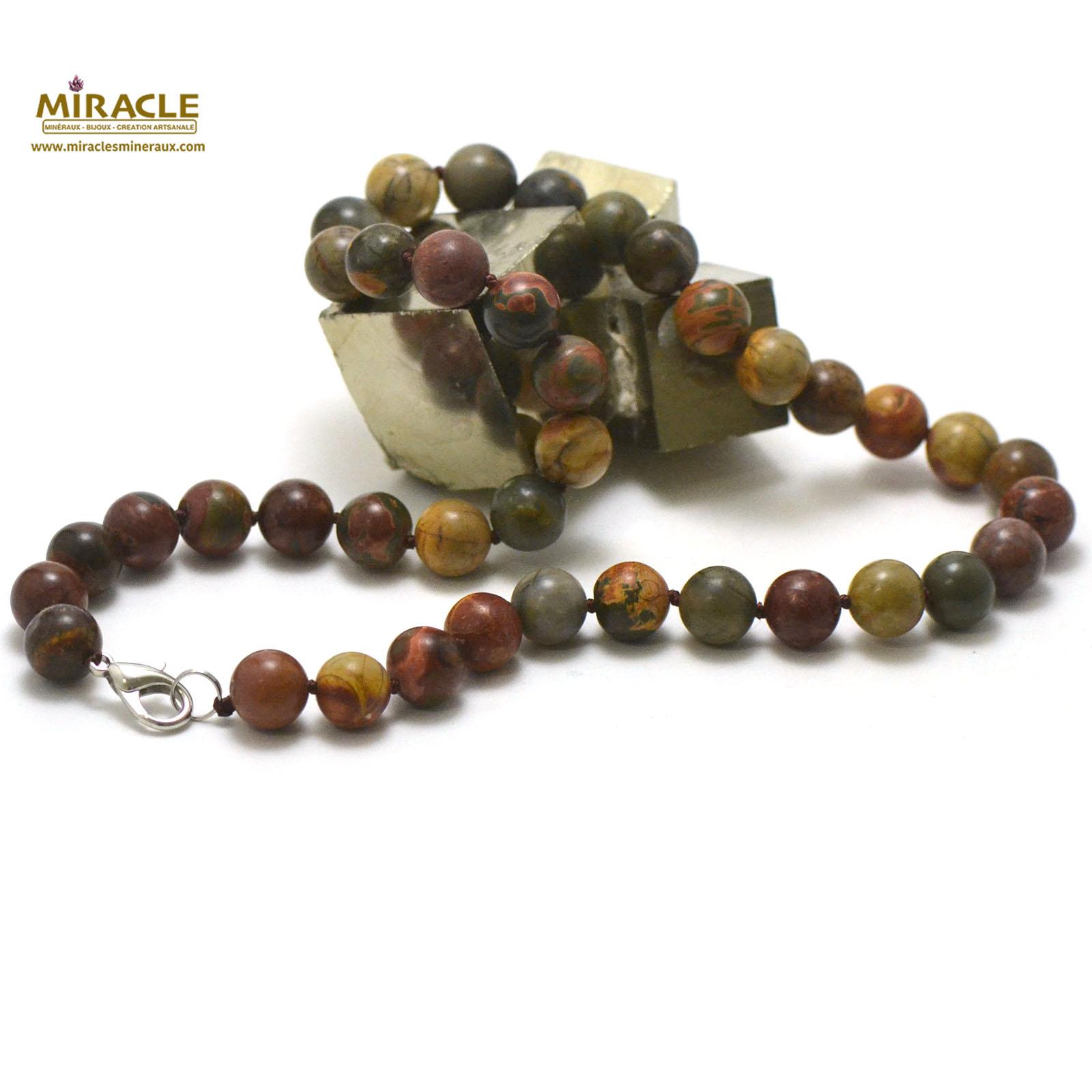 collier en jaspe picasso, perle ronde 10 mm