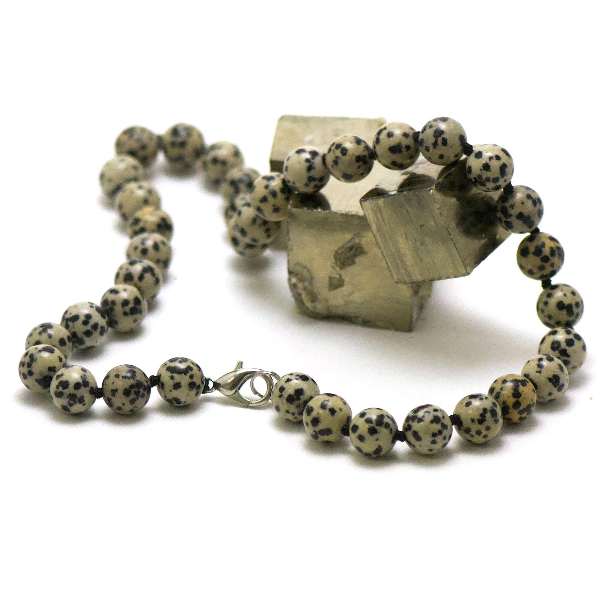 collier en jaspe dalmatien, perle ronde 10 mm