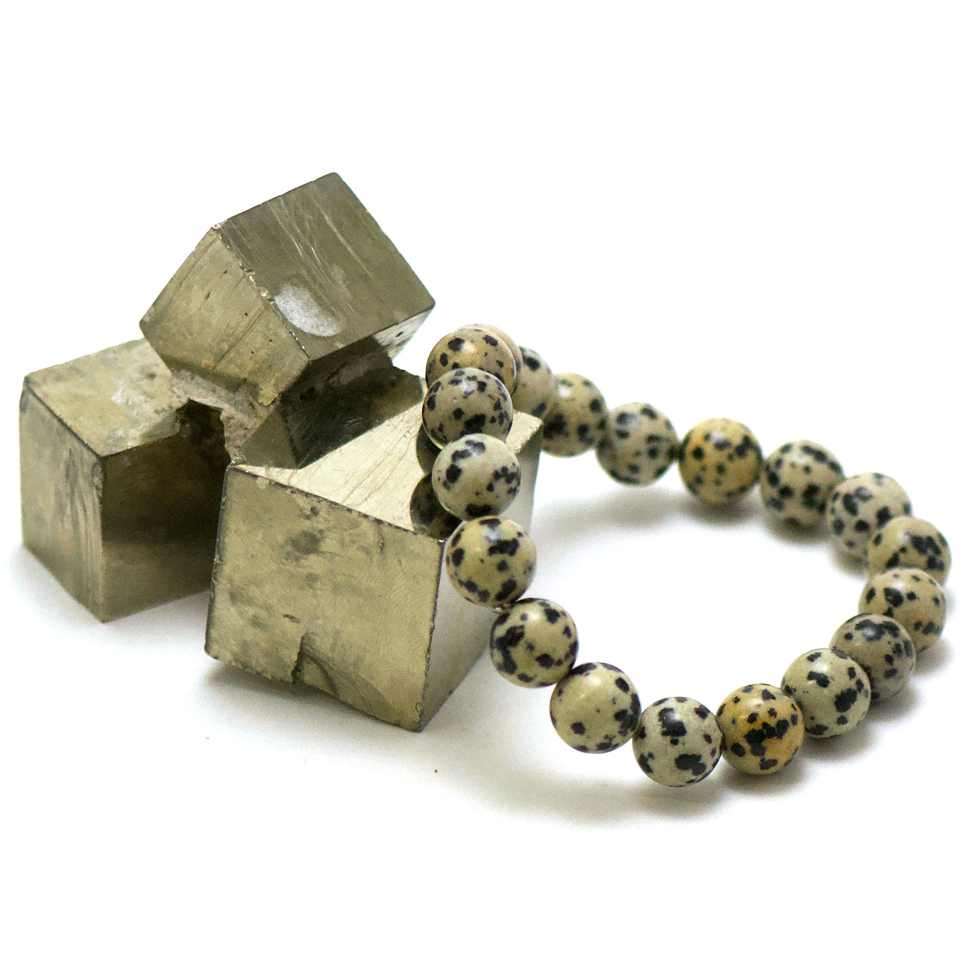 bracelet jaspe dalmatien, perle ronde 10 mm