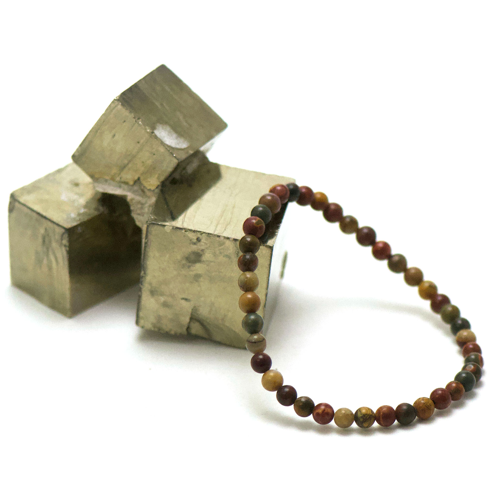 bracelet jaspe picasso, perle ronde 4 mm