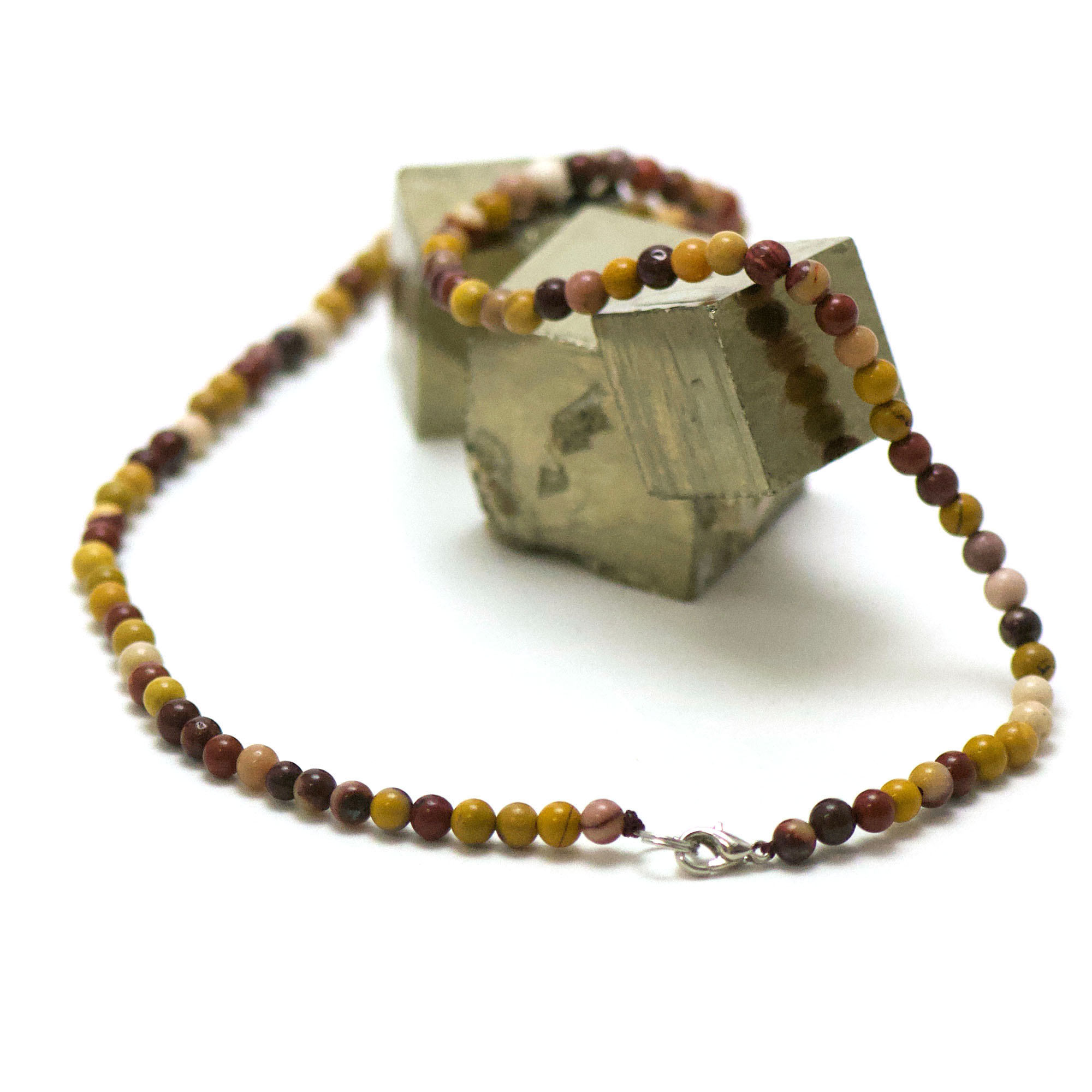 collier en jaspe mokaïte, perle ronde 4 mm