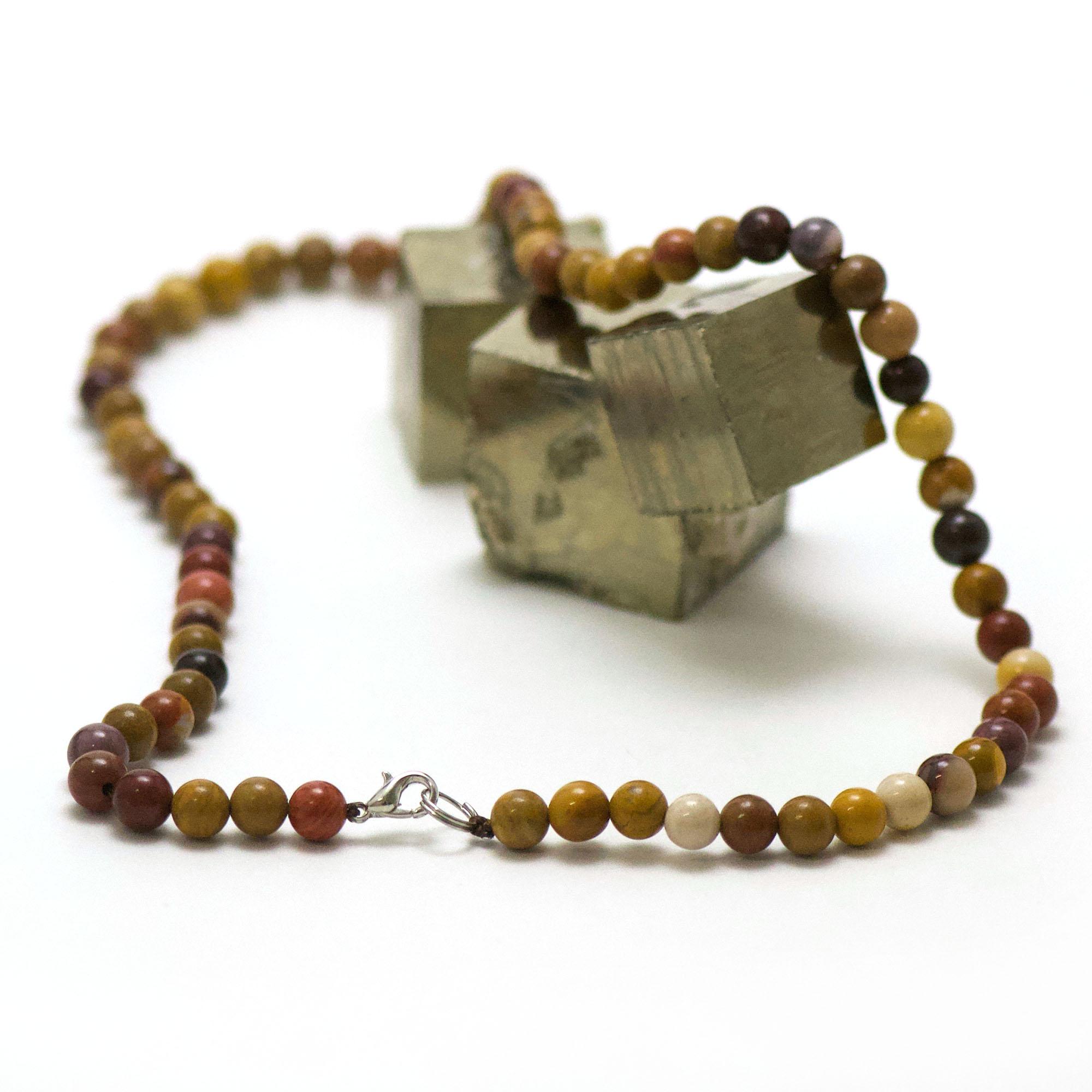 collier en jaspe mokaïte, perle ronde 6 mm