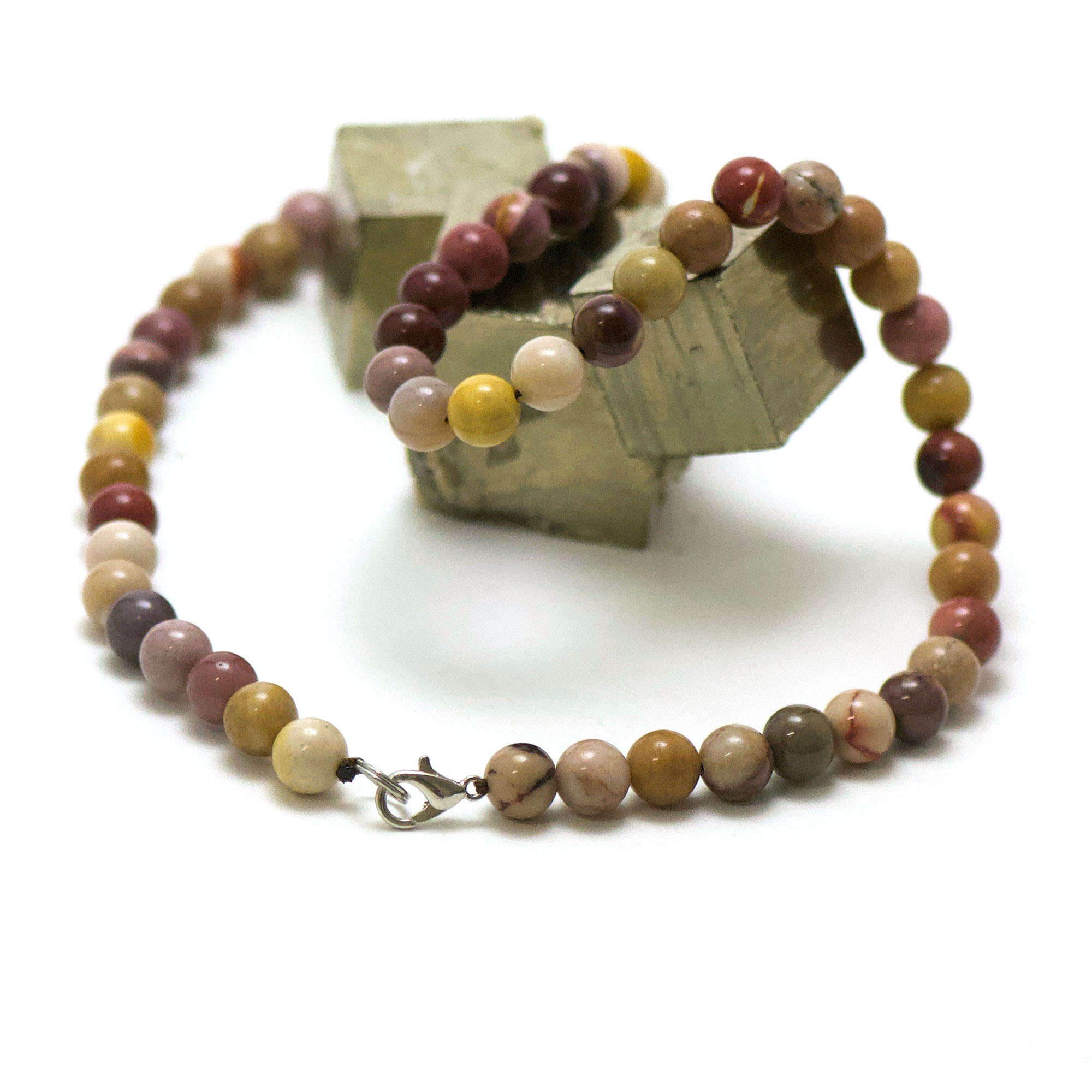 collier en jaspe mokaïte, perle ronde 8 mm