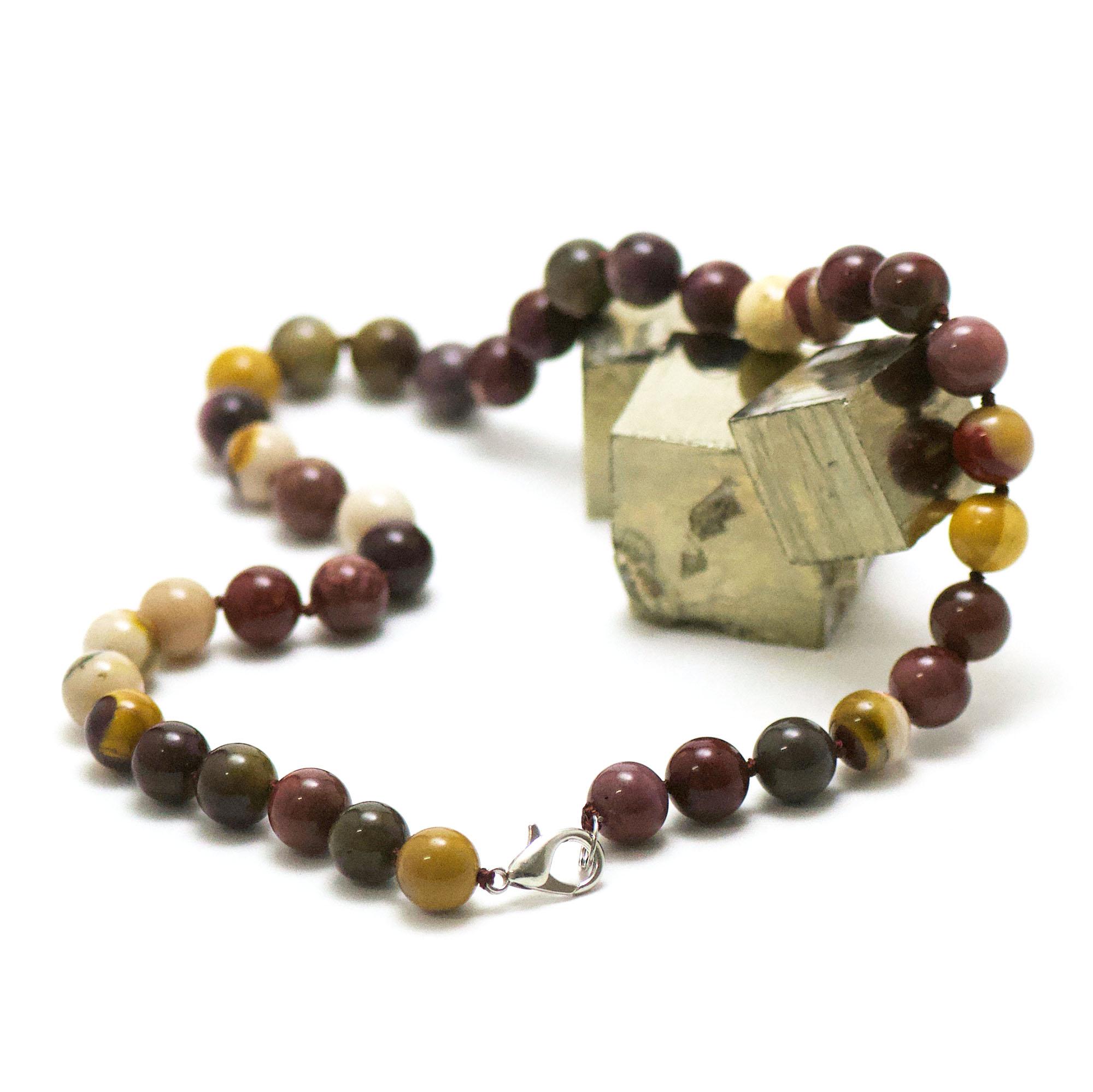 collier en jaspe mokaïte, perle ronde 10 mm