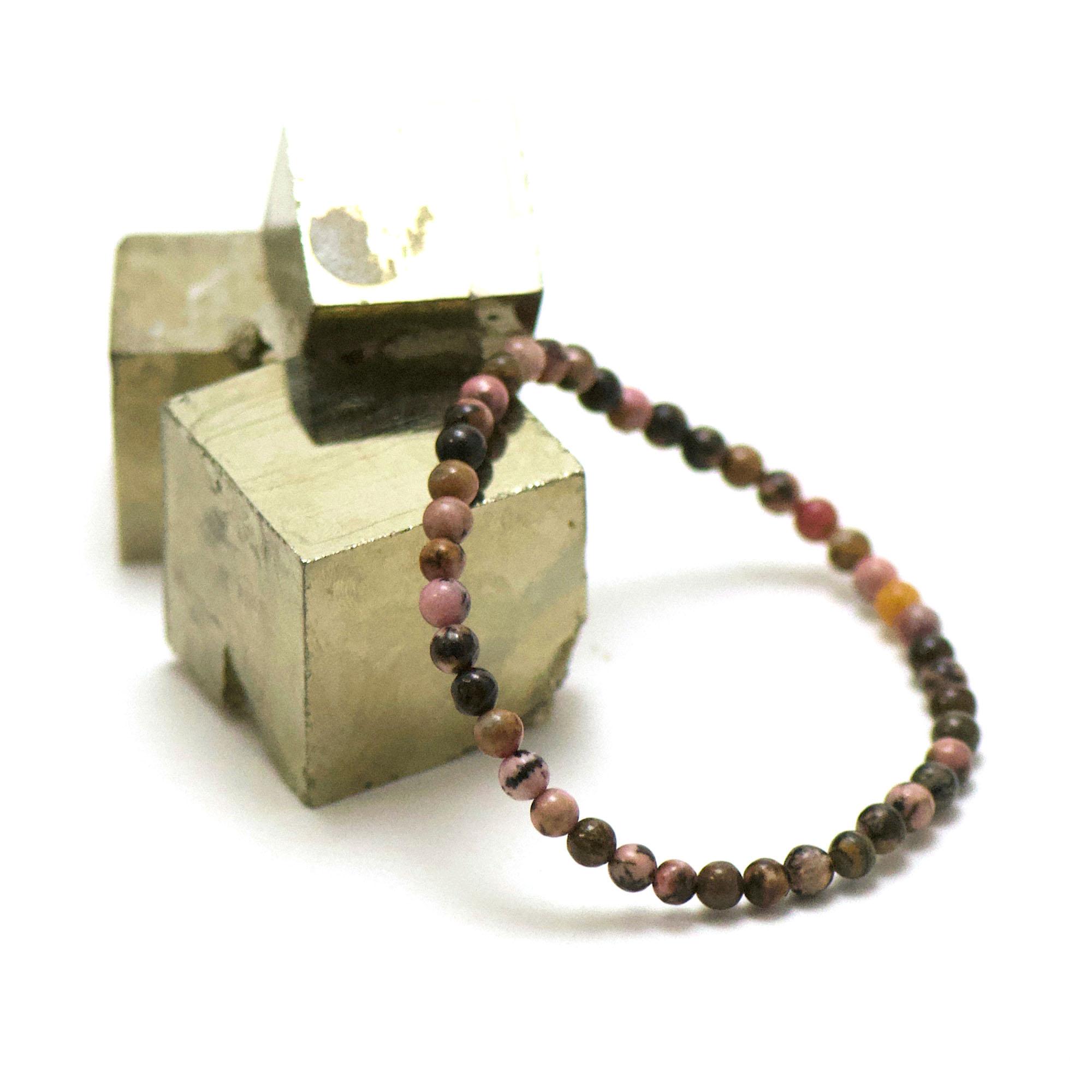 bracelet rhodonite de madagascar, perle ronde 4 mm