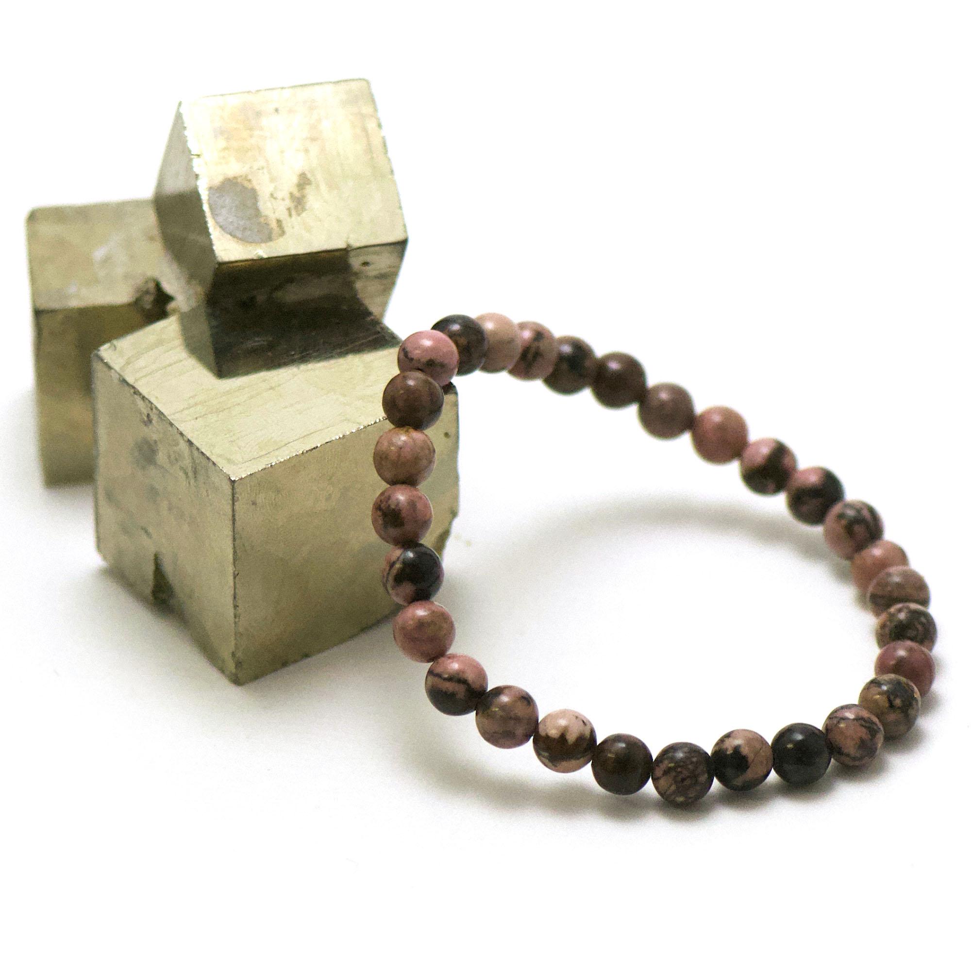 bracelet rhodonite de madagascar, perle ronde 6 mm