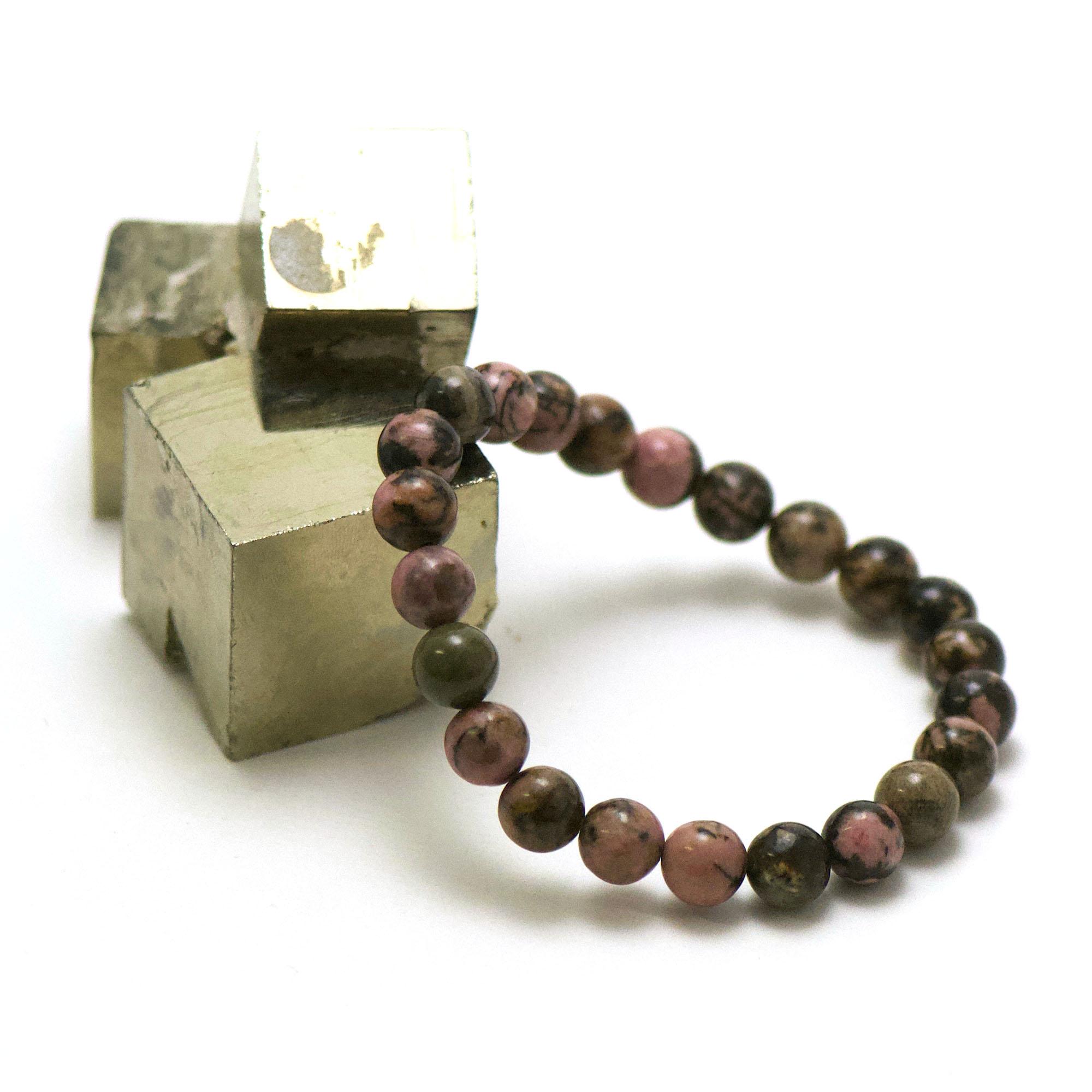 bracelet rhodonite de madagascar, perle ronde 8 mm