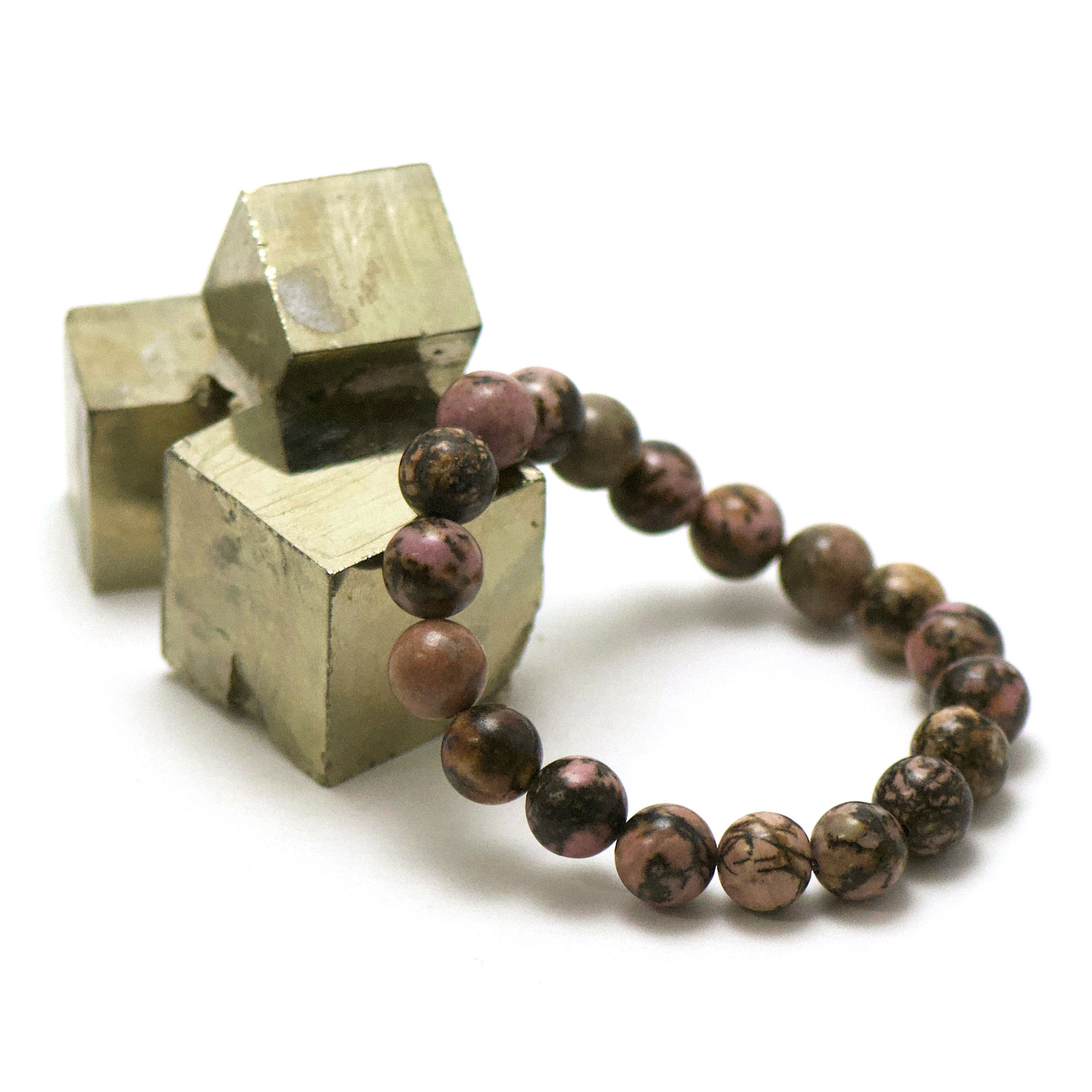 bracelet rhodonite de madagascar, perle ronde 10 mm
