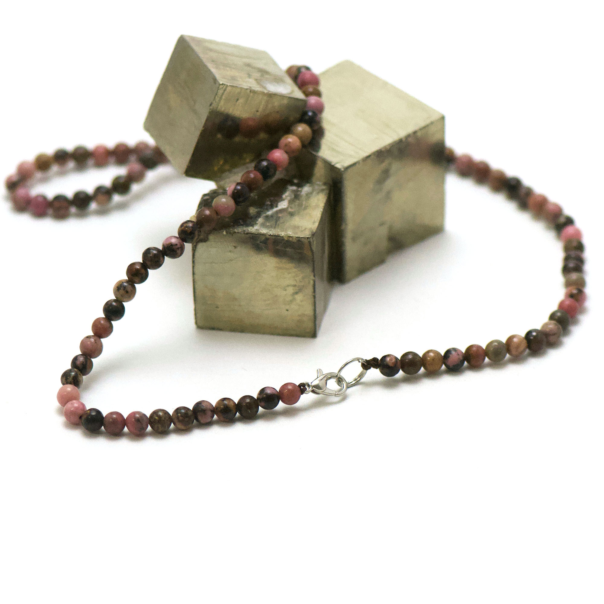 collier rhodonite de Madagascar, perle ronde 4 mm