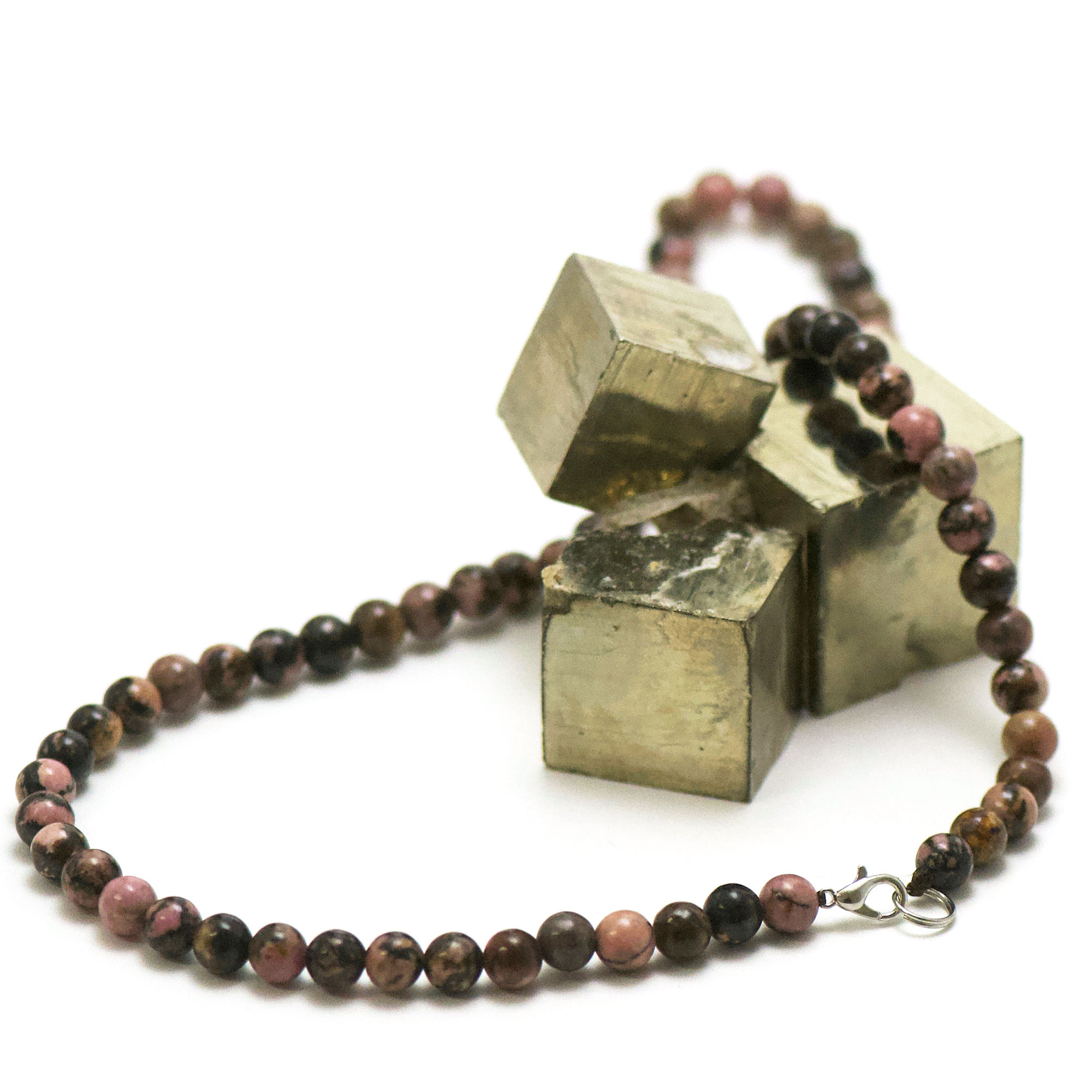 collier rhodonite de Madagascar, perle ronde 6 mm