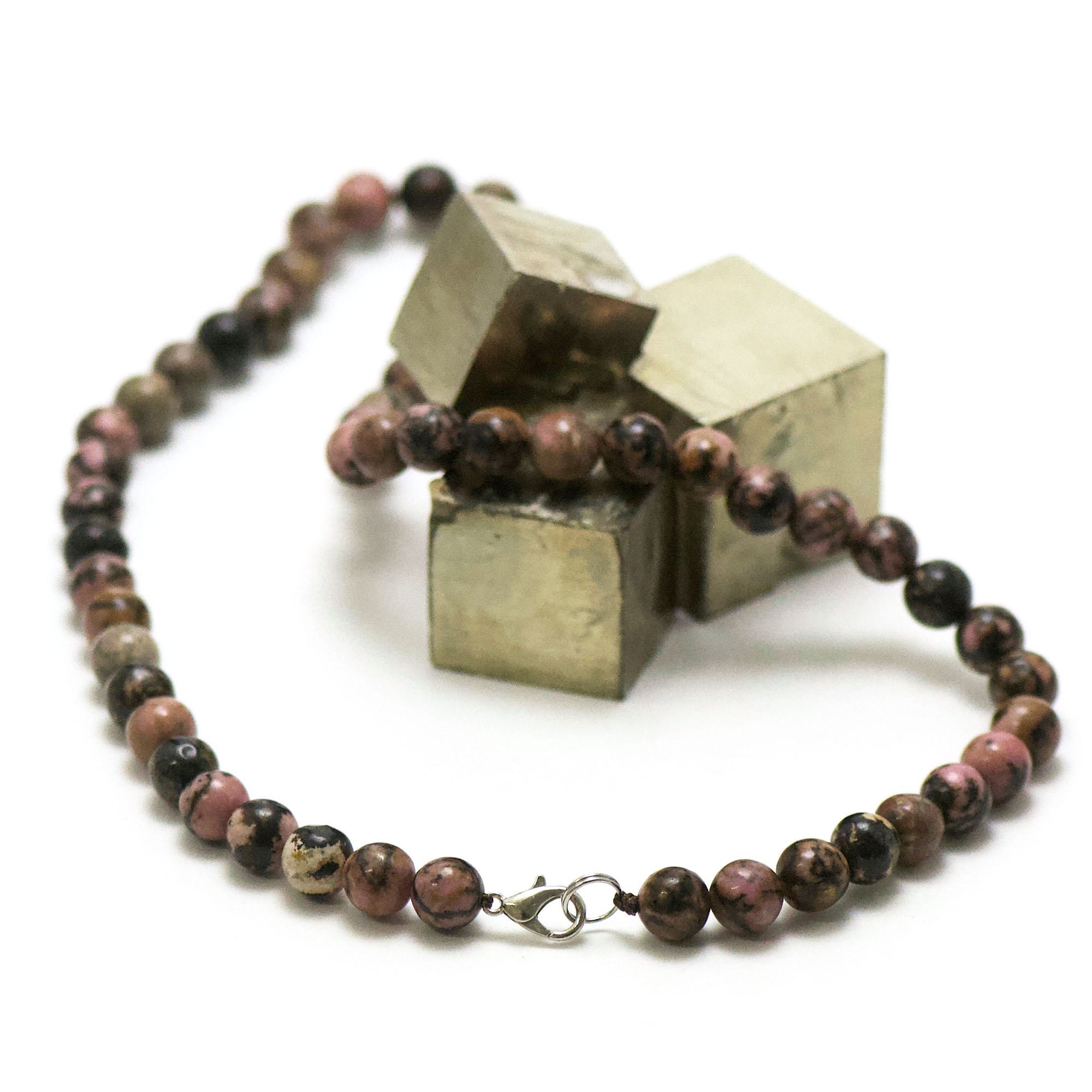 collier rhodonite de Madagascar, perle ronde 8 mm