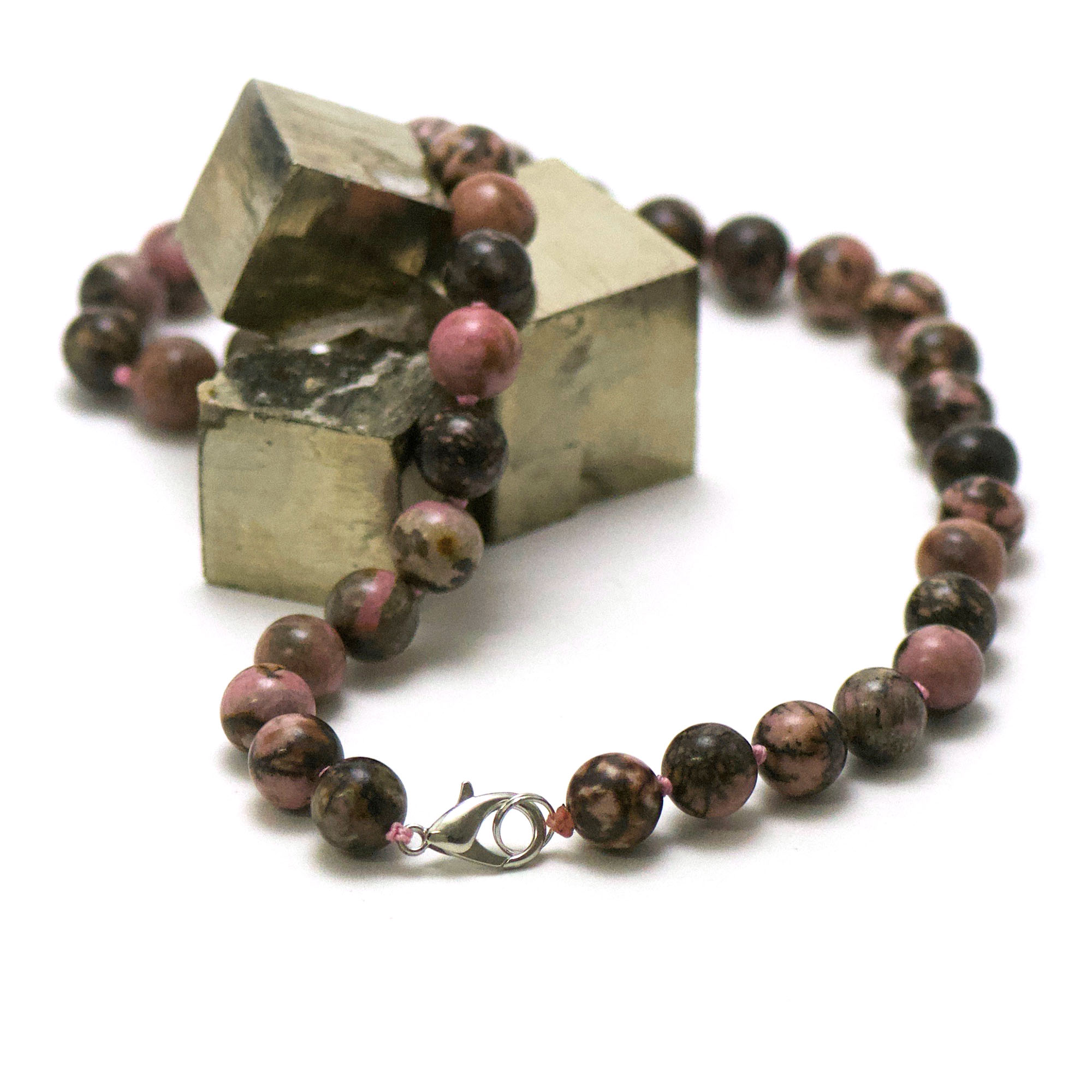 collier rhodonite de Madagascar, perle ronde 10 mm