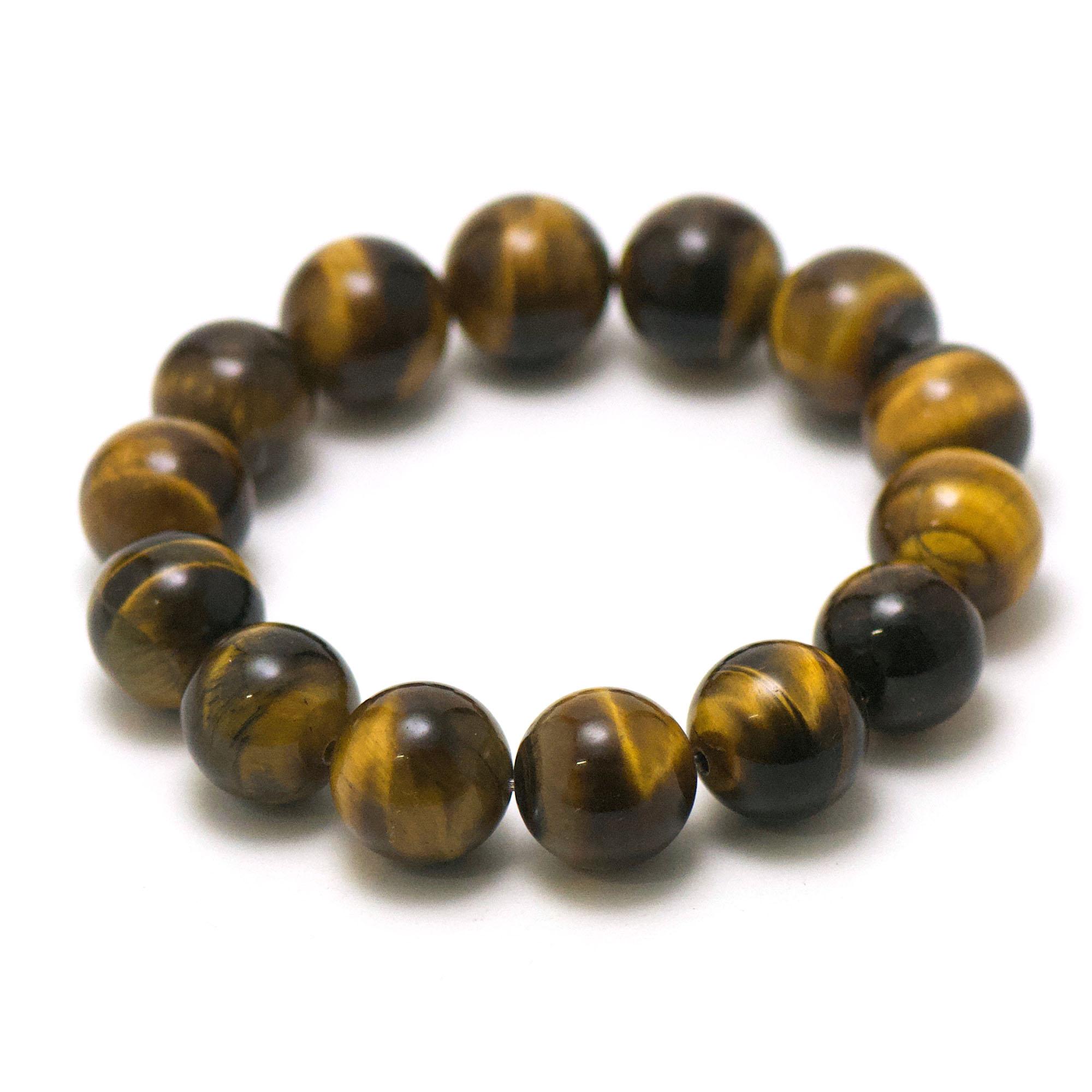 bracelet oeil de tigre perle ronde 16 mm